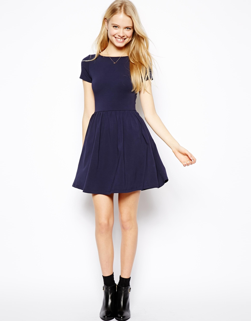 Asos Skater Dress With Slash Neck And Short Sleeves in Blue | Lyst