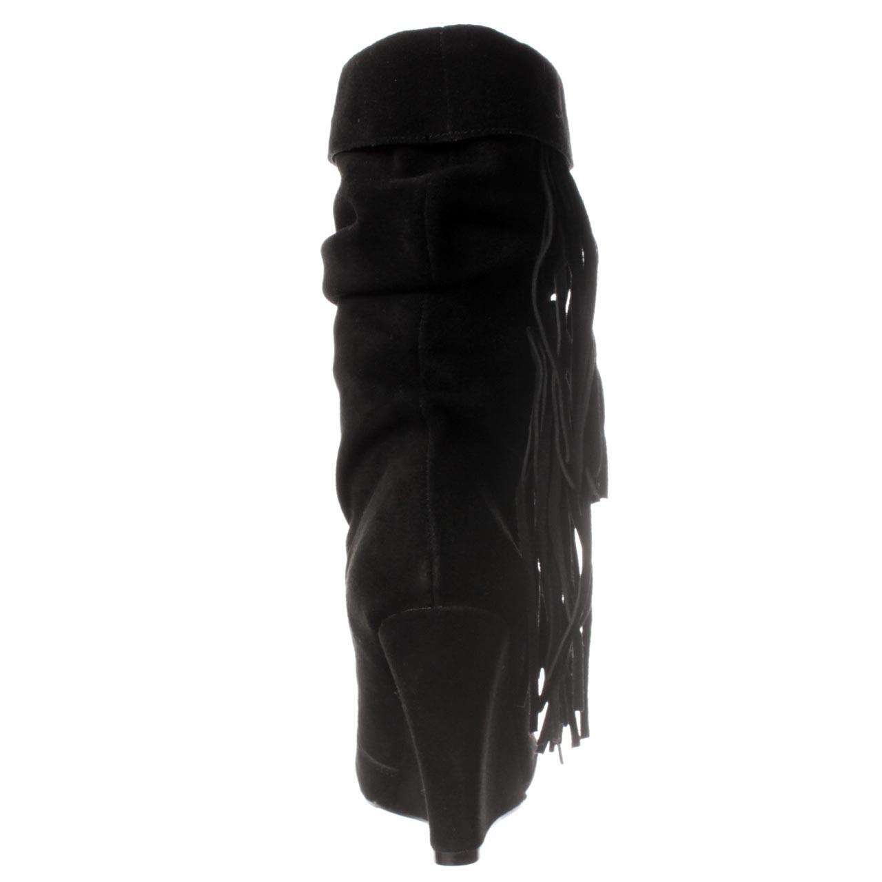 kelsi dagger carousel fringe wedge boot in black