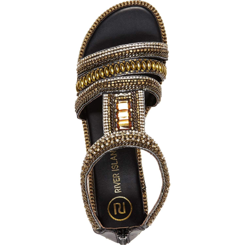 dd2f7c5bfff3d4 River Island Black Beaded Sandals in Metallic - Lyst