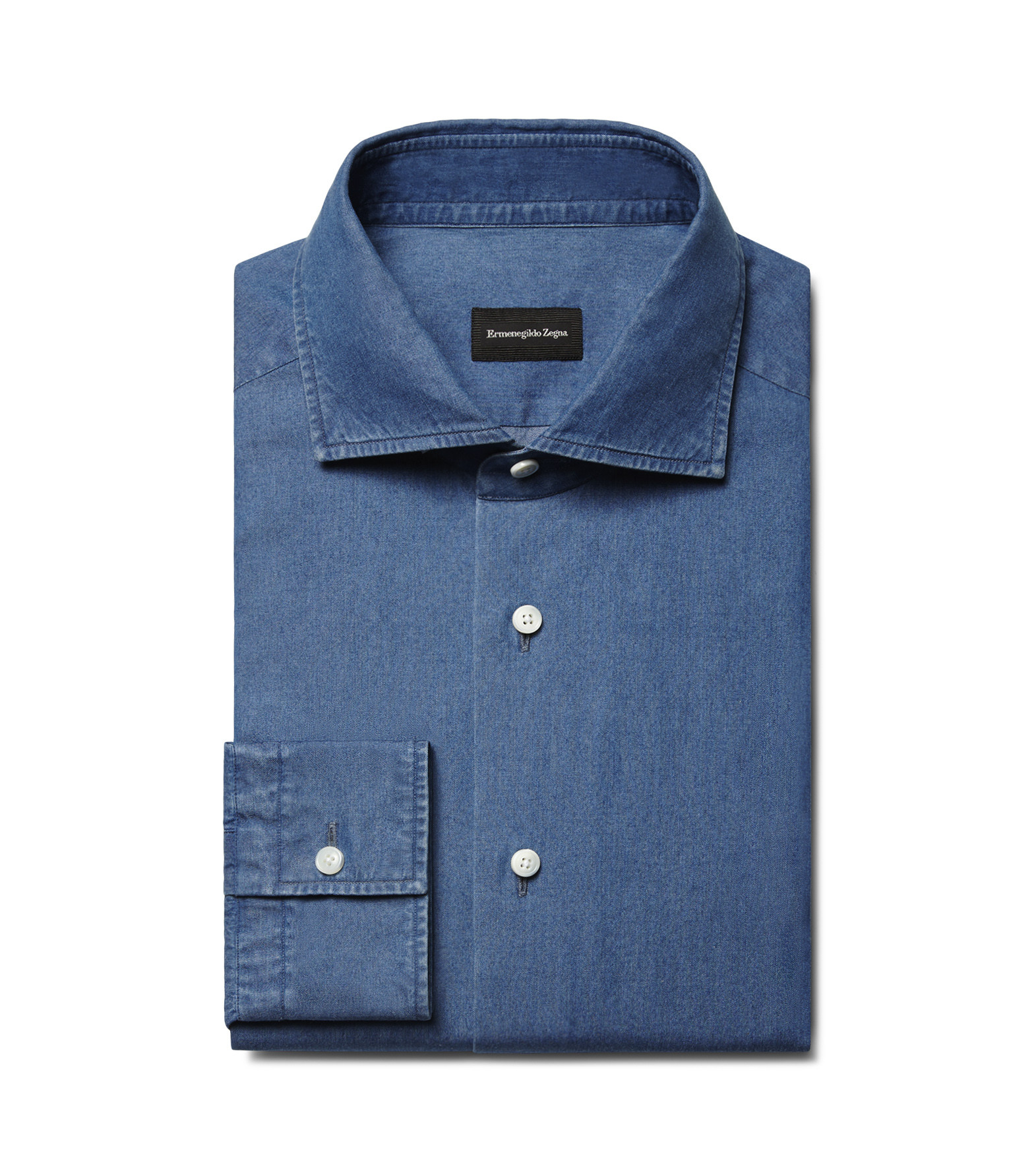 Ermenegildo Zegna Light Blue Denim Cotton Shirt In Blue