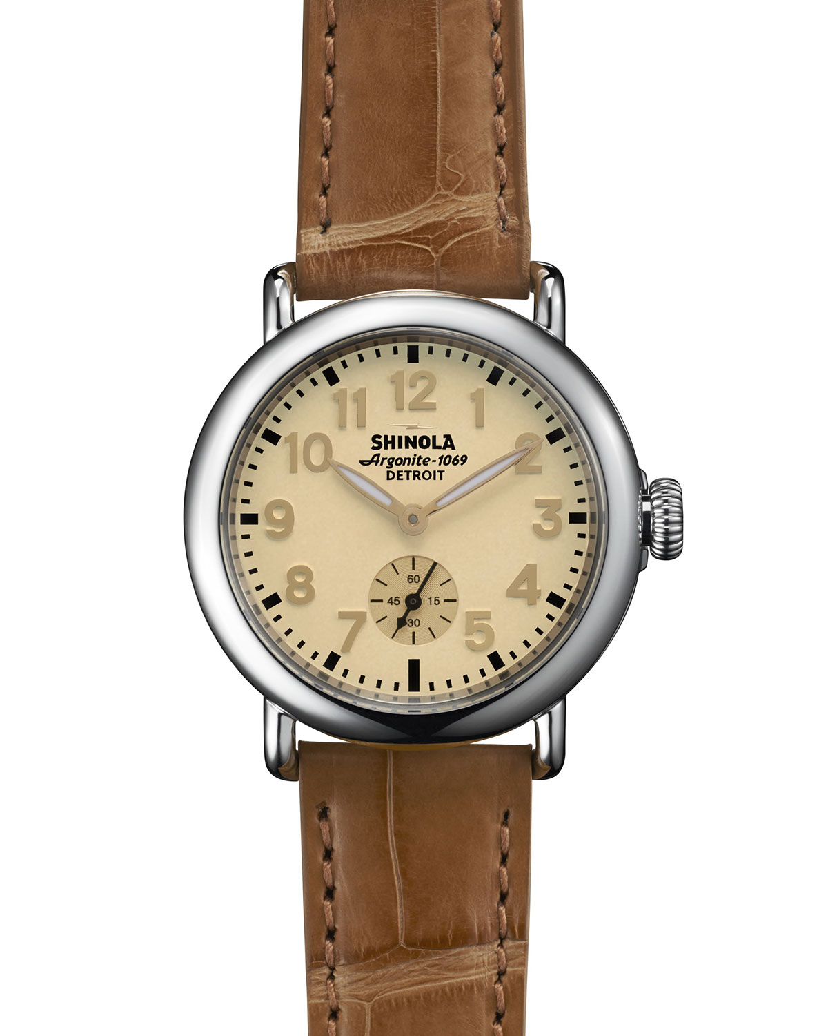 Shinola the runwell stainless watch with tan alligator leather strap in brown lyst for Shinola watches