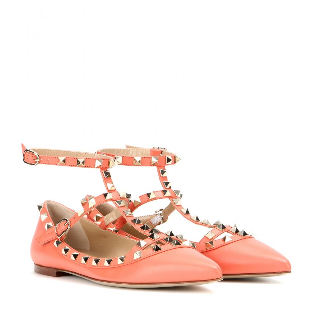 lyst valentino rockstud leather ballerinas in orange. Black Bedroom Furniture Sets. Home Design Ideas