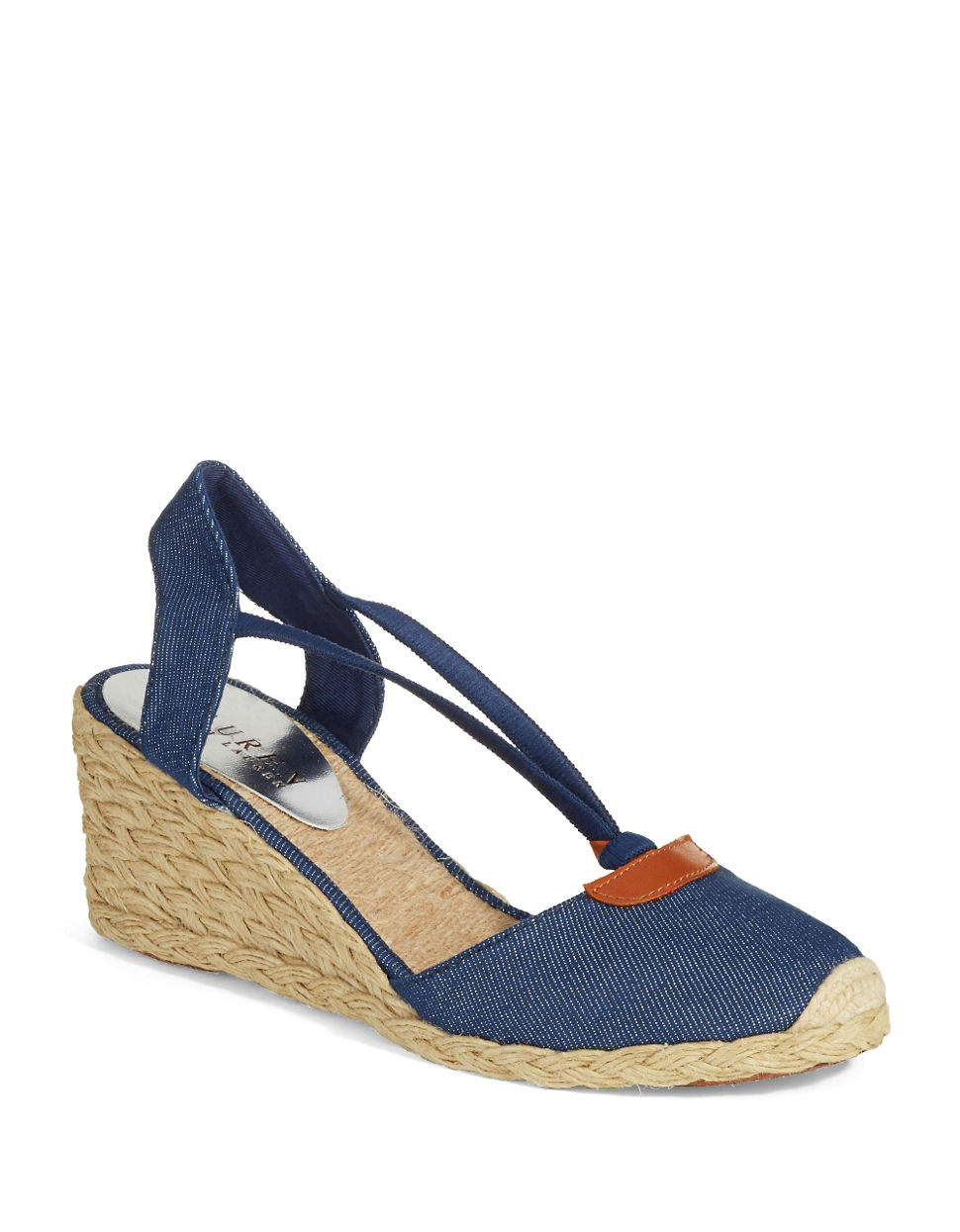 lyst lauren by ralph lauren cala espadrille wedges in blue. Black Bedroom Furniture Sets. Home Design Ideas