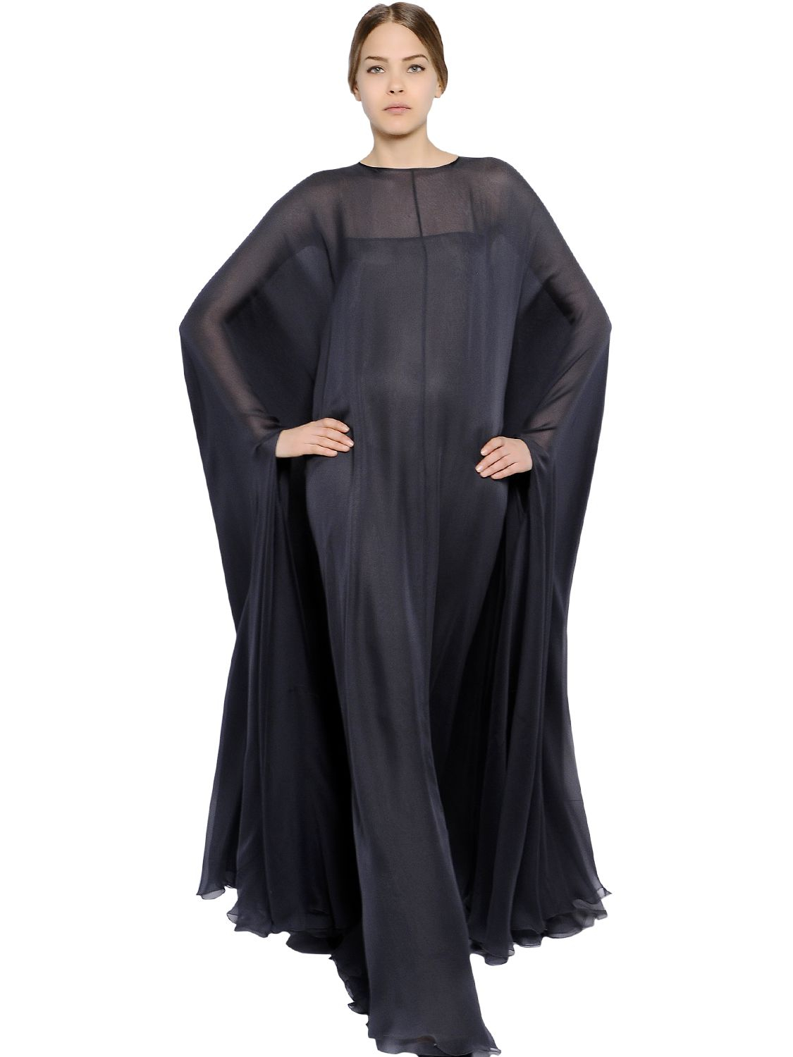 Lyst Valentino Silk Chiffon Cape Dress In Gray