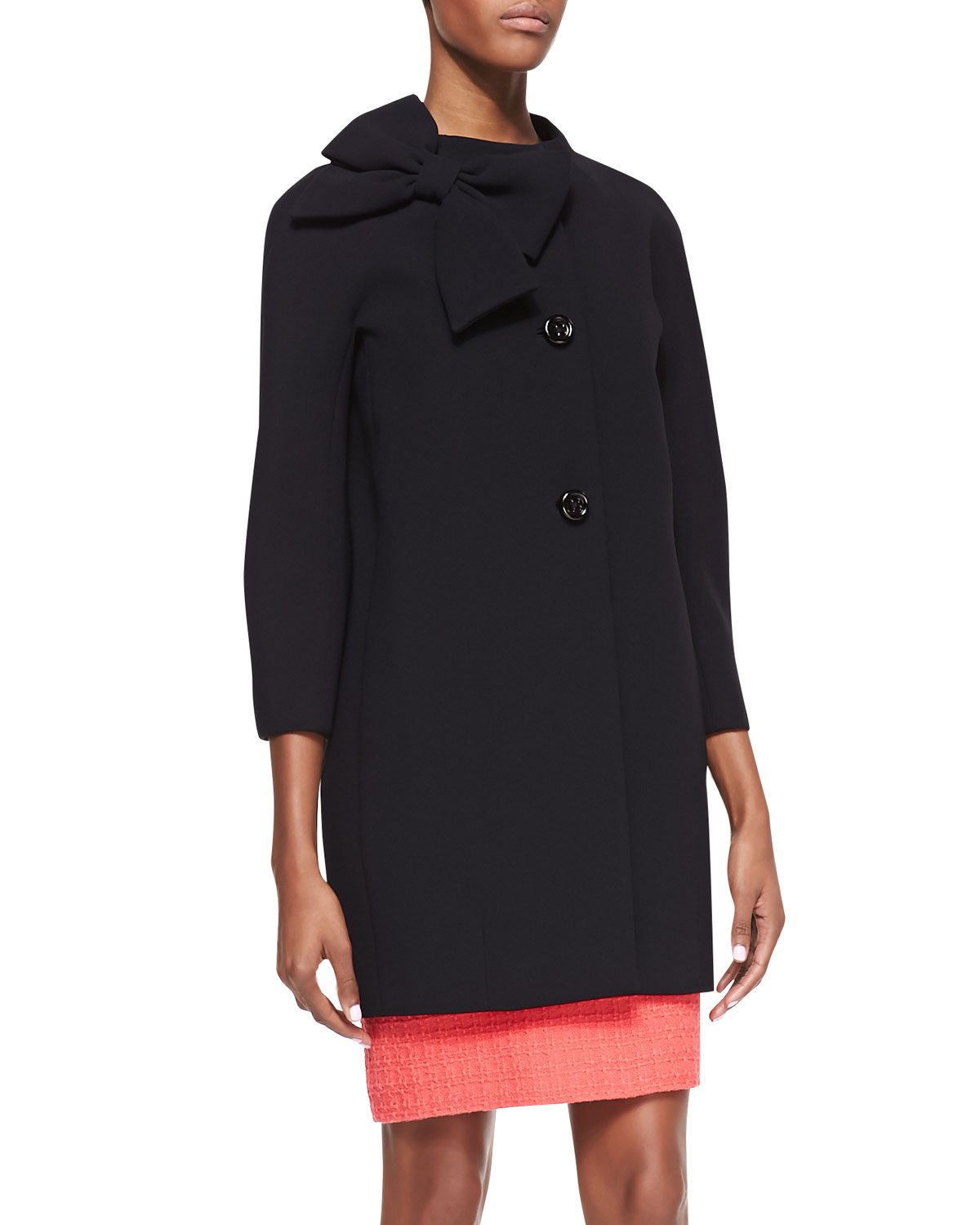 Kate spade new york Dorothy Coat with Side Collar Bow Black in ...