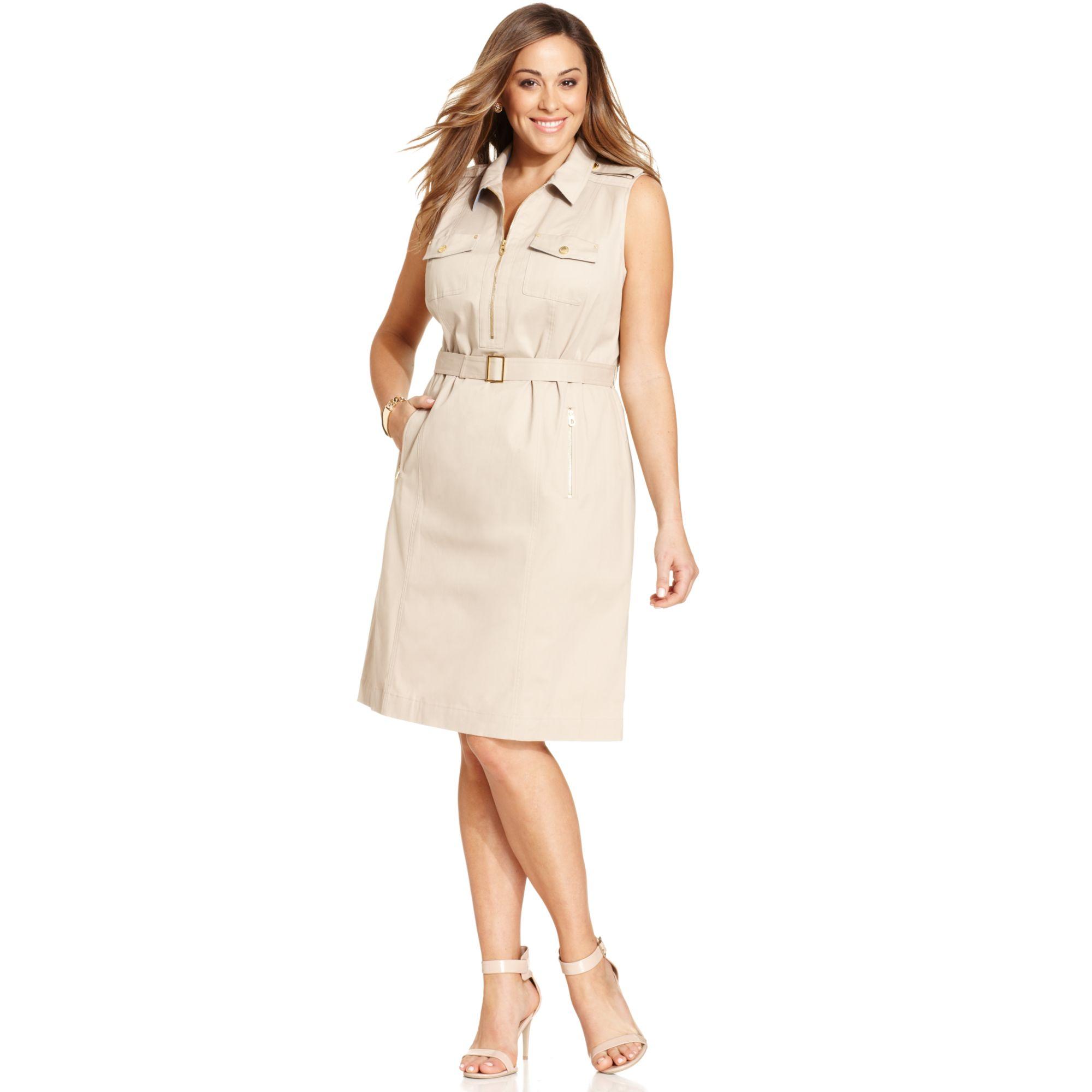 46fbfc029ef308 Jones New York Signature Plus Size Sleeveless Safari Dress in ...