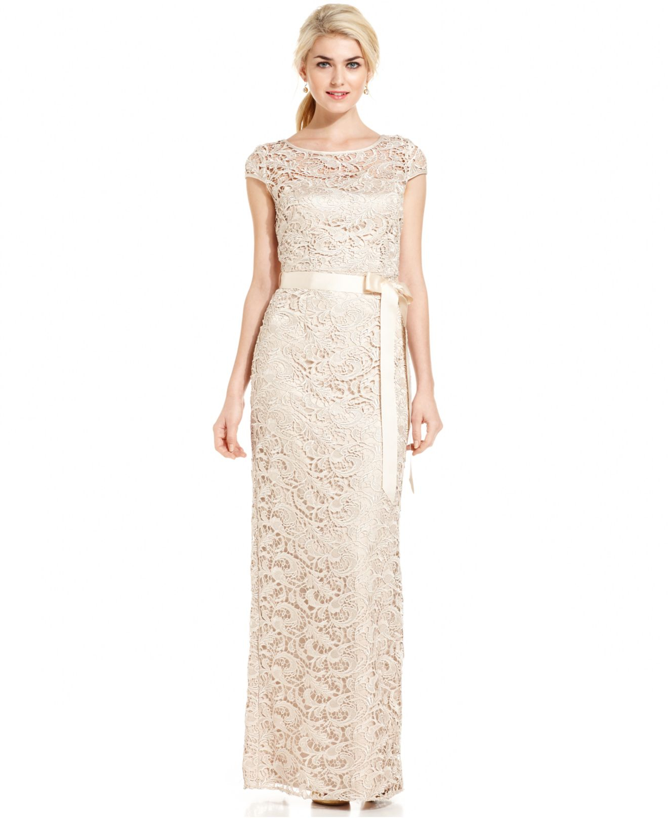 Adrianna Papell Cap Sleeve Illusion Lace Gown In Natural