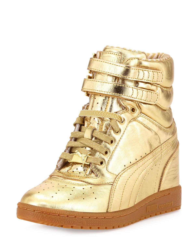 70200012ed3 Lyst - PUMA Rime Sky Wedge Leather Hightop Sneaker Gold in Metallic