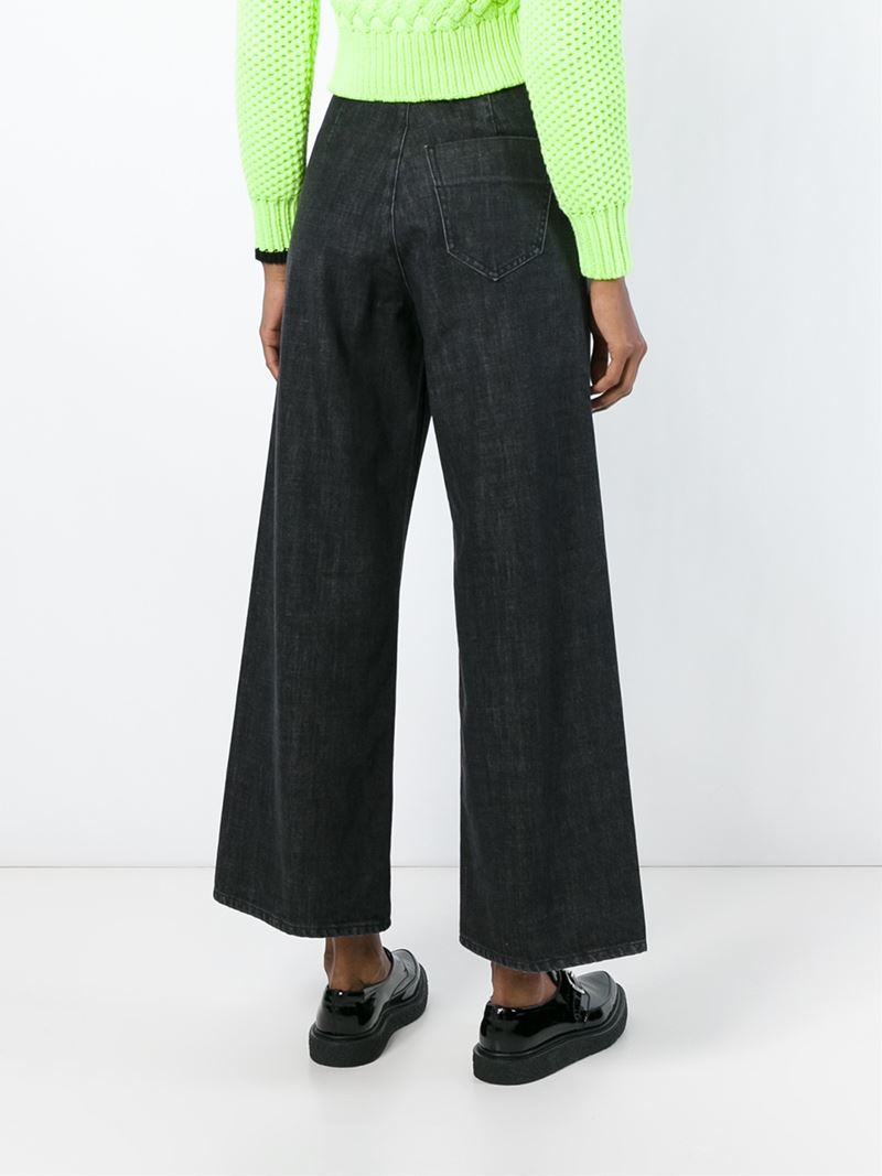 MM6 by Maison Martin Margiela Painting Strokes Wide Leg Cropped Jeans in Grey (Grey)