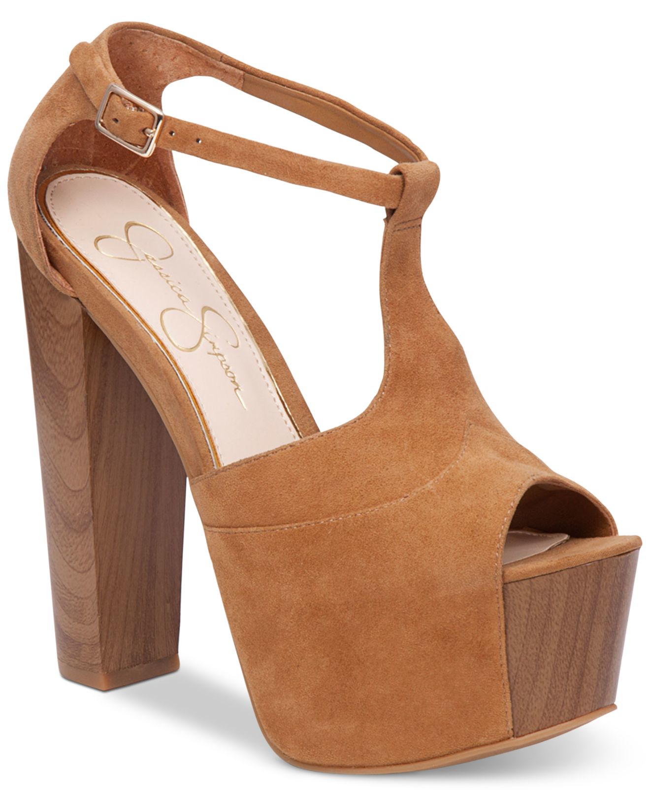 171be73efad4 Lyst - Jessica Simpson Dany T-strap Platform Pumps in Brown