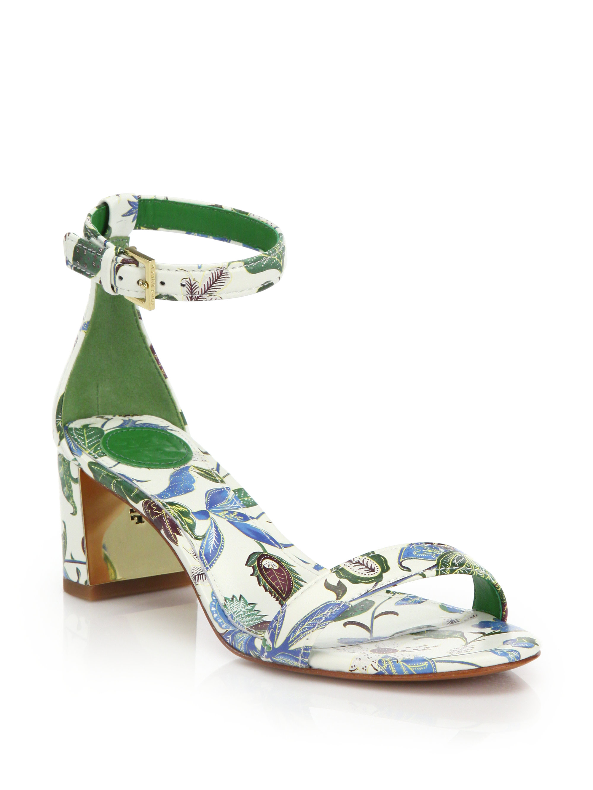 18f4c870c287 Lyst - Tory Burch Cecile Floral Leather Mid-heel Sandals