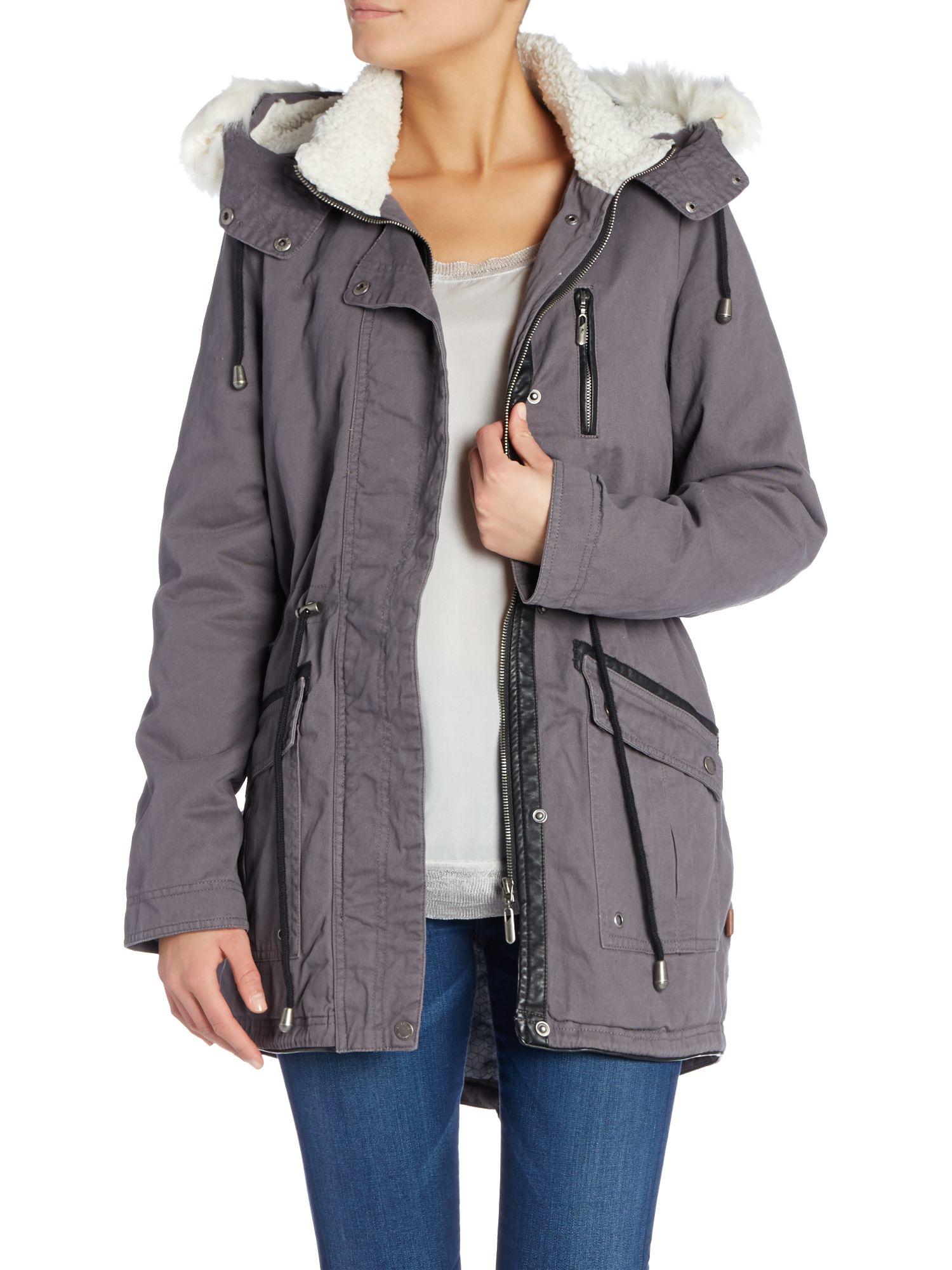 Bellfield Parka With Detachable Faux Fur Hood in Gray | Lyst