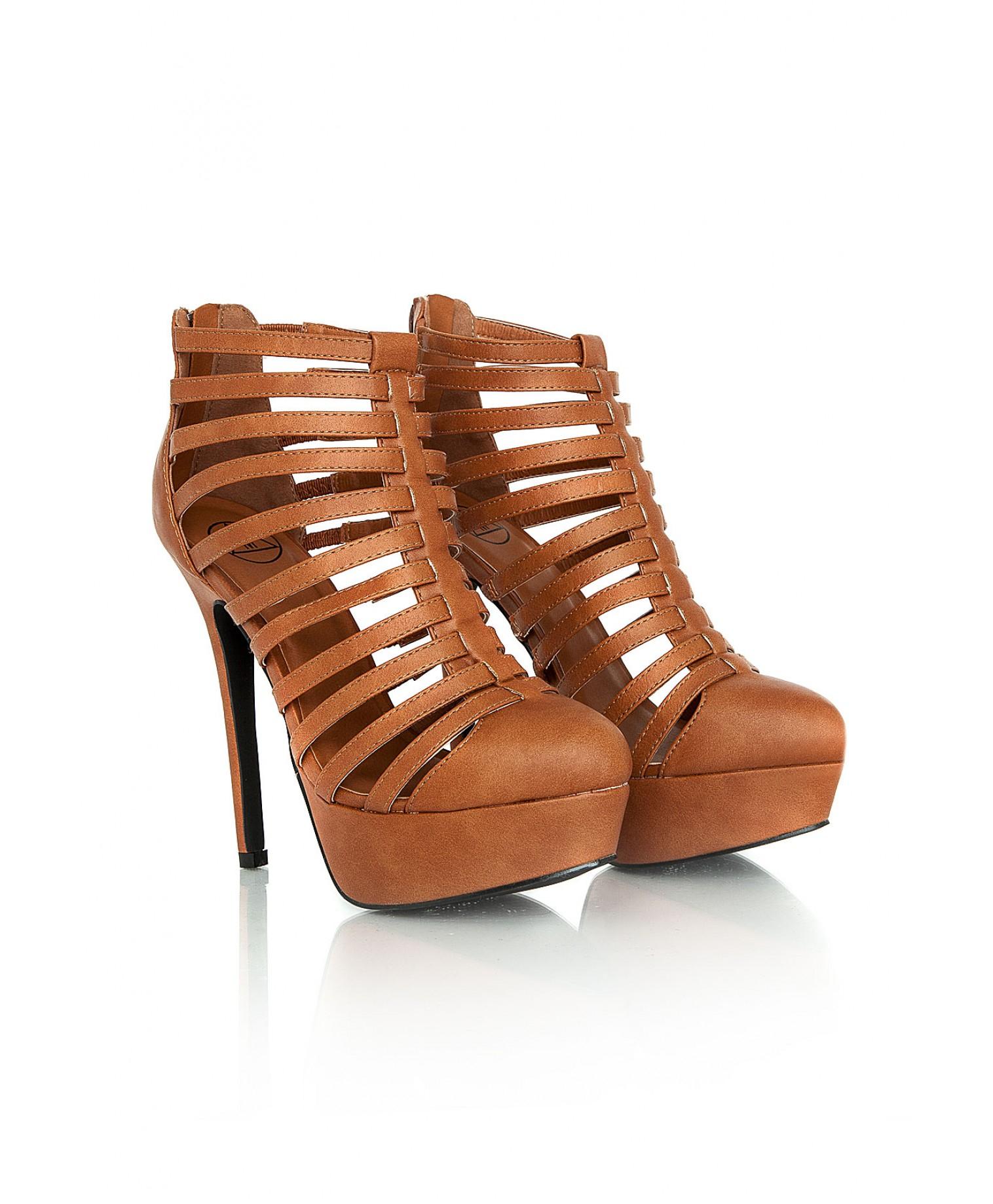 Brown Strappy Heels Fs Heel