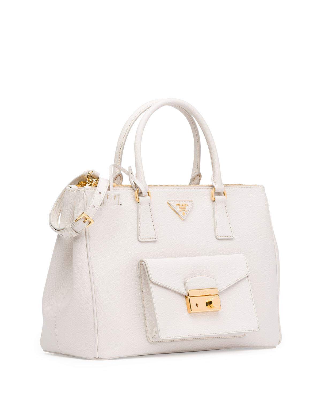 2f6c03d49c Lyst - Prada Saffiano Front-Pocket Tote Bag in White