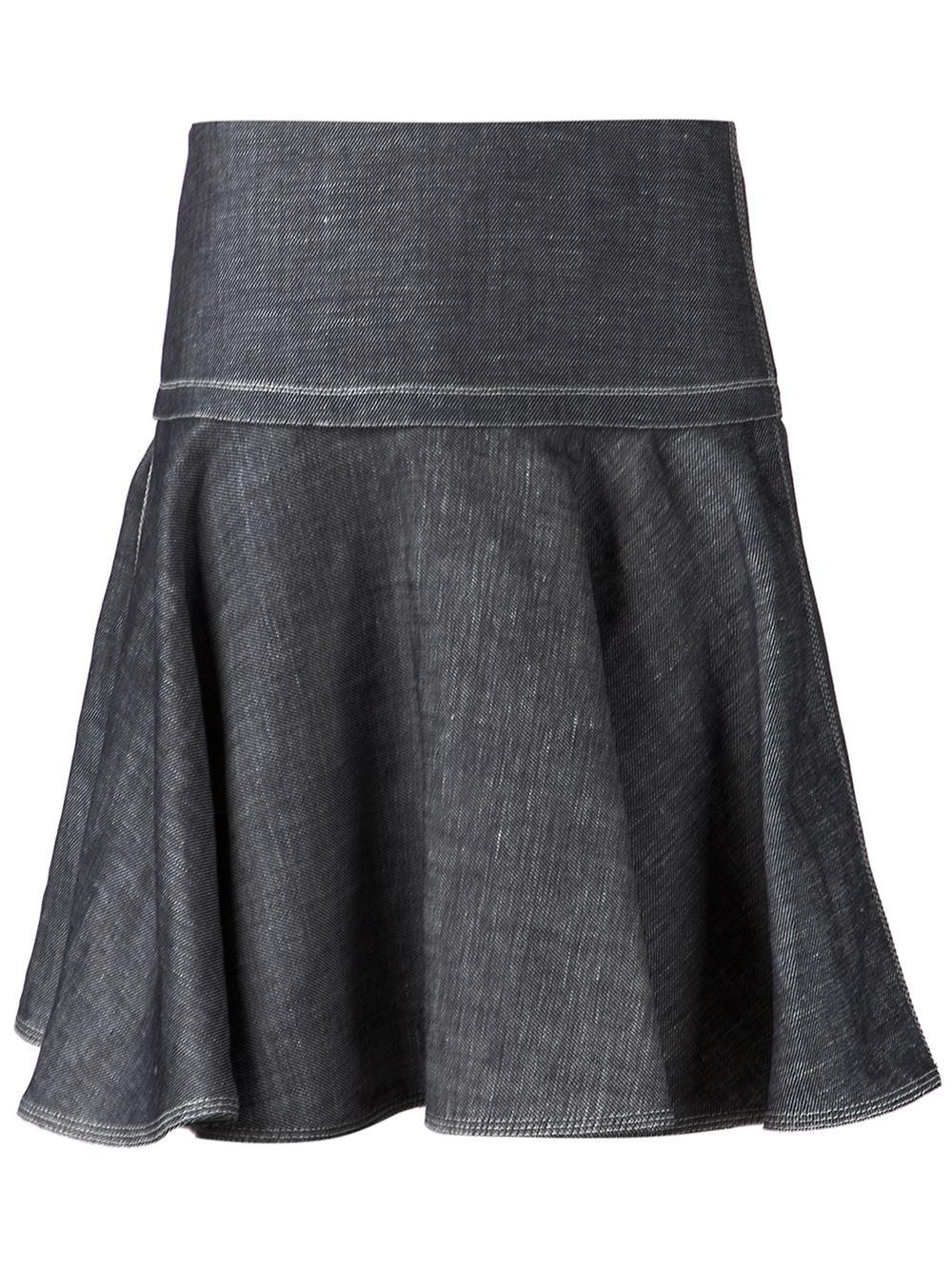 rag bone flared denim skirt in blue lyst