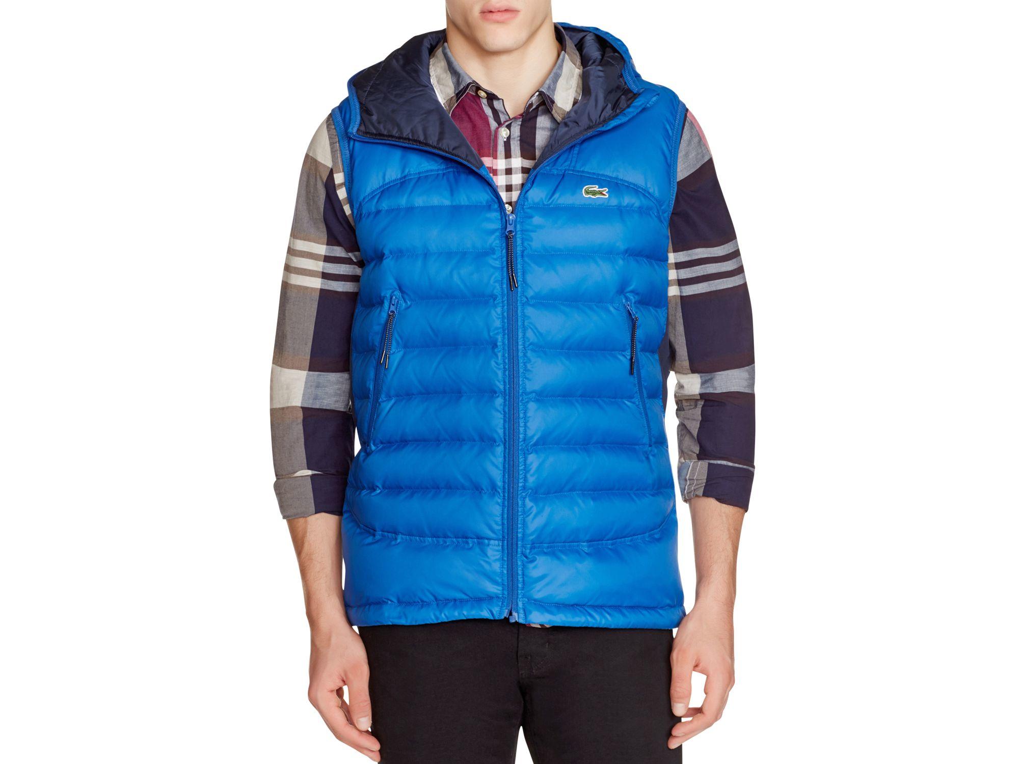 b90ea25341d0 Lyst - Lacoste Hooded Down Vest in Blue for Men
