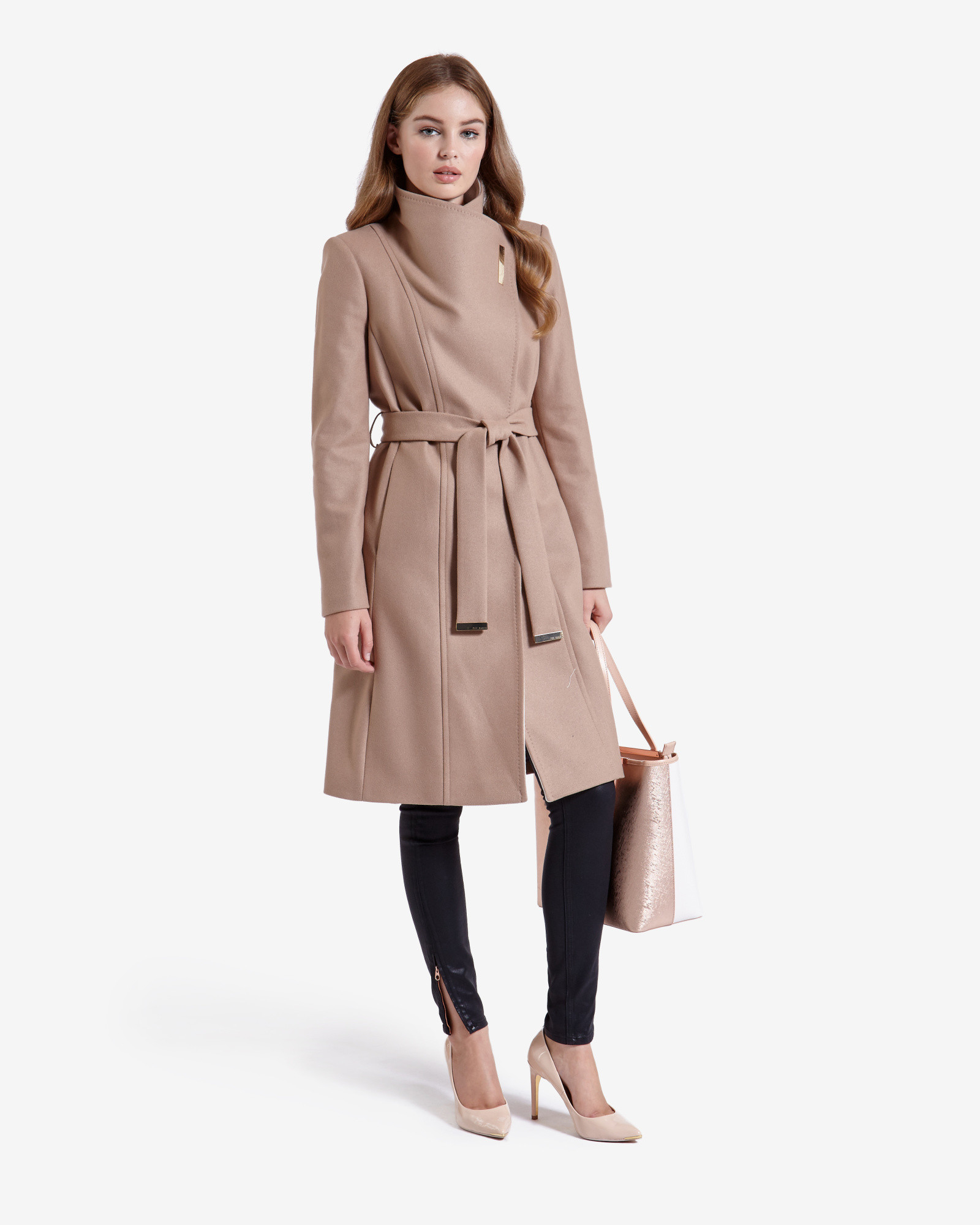 10063e01e Ted Baker Long Wool Wrap Coat in Natural - Lyst
