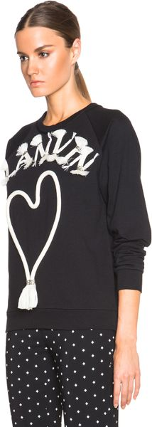 Lanvin Logo Embroidered Sweatshirt in Black | Lyst