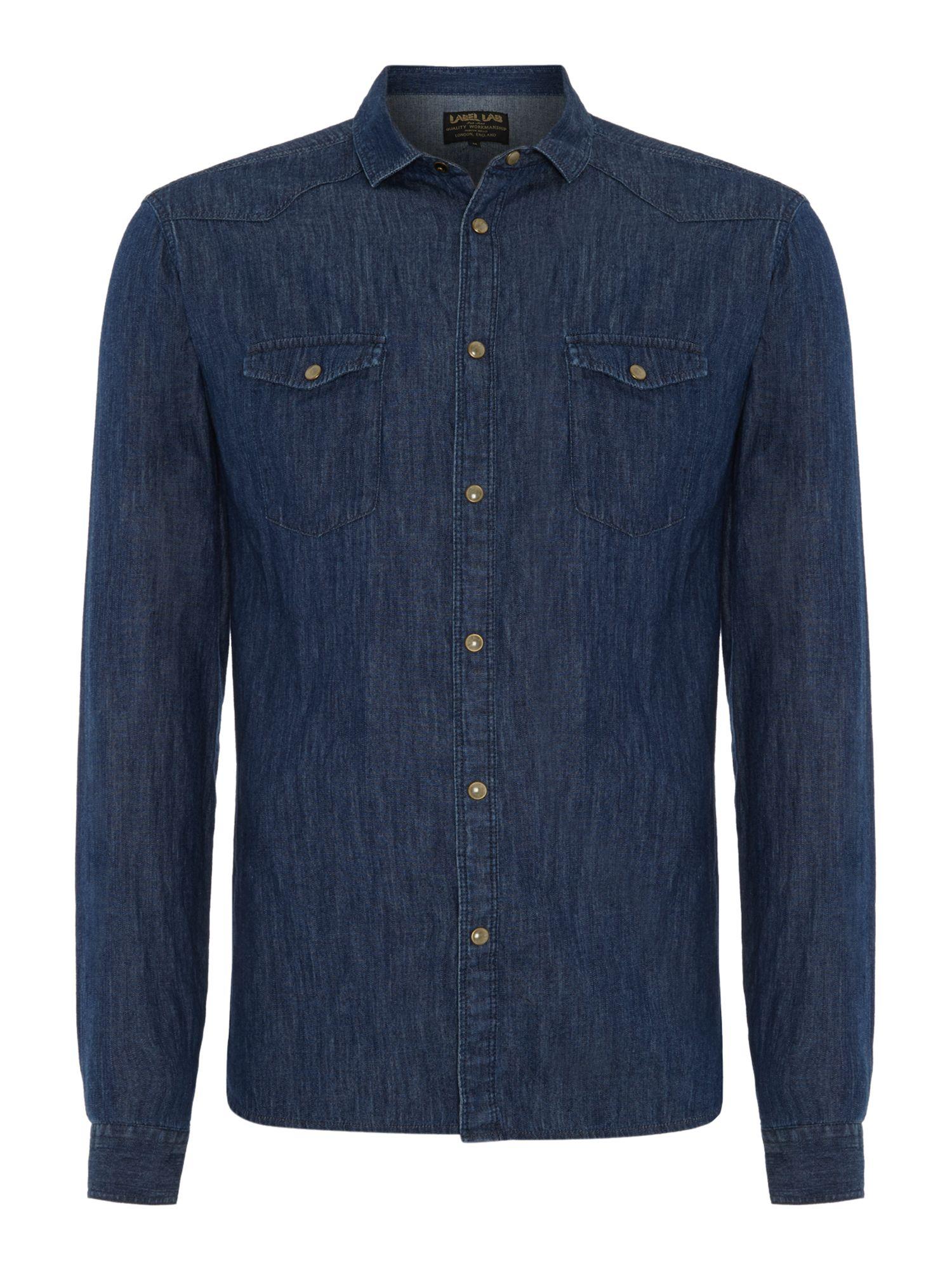 Label Lab Denim Long Sleeve Shirt In Blue For Men Indigo