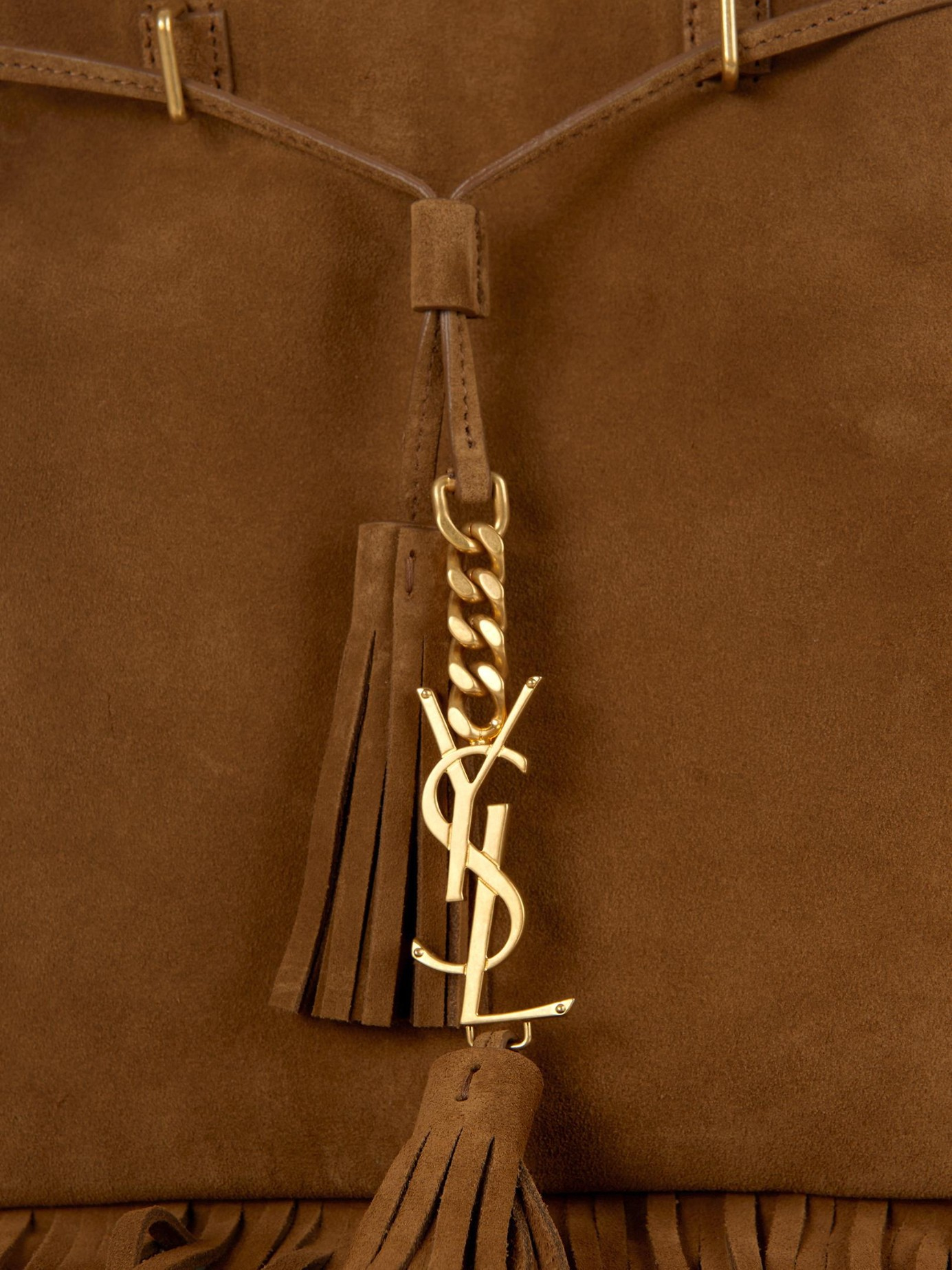 74305e9a1f Lyst - Saint Laurent Monogram Fringe Suede Bucket Bag in Brown