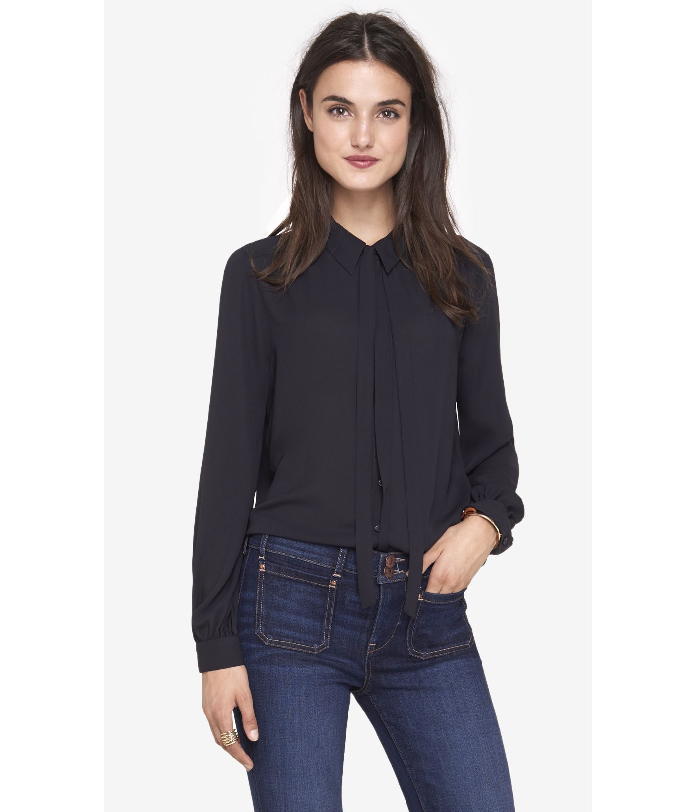Lyst express black long sleeve tie neck blouse in black for Express shirt and tie