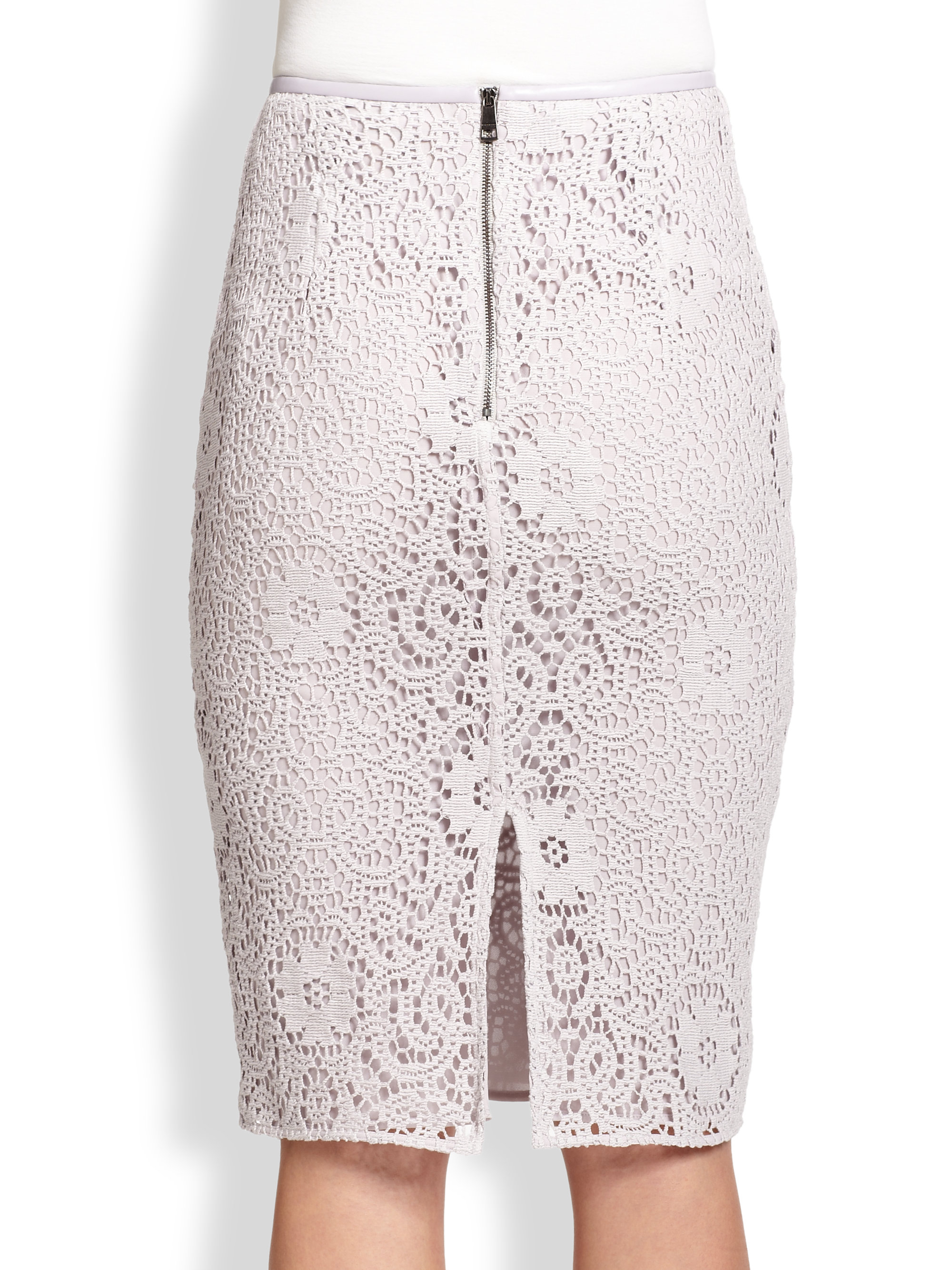 21322cc5b9 Burberry Crochet Lace Pencil Skirt in Purple - Lyst