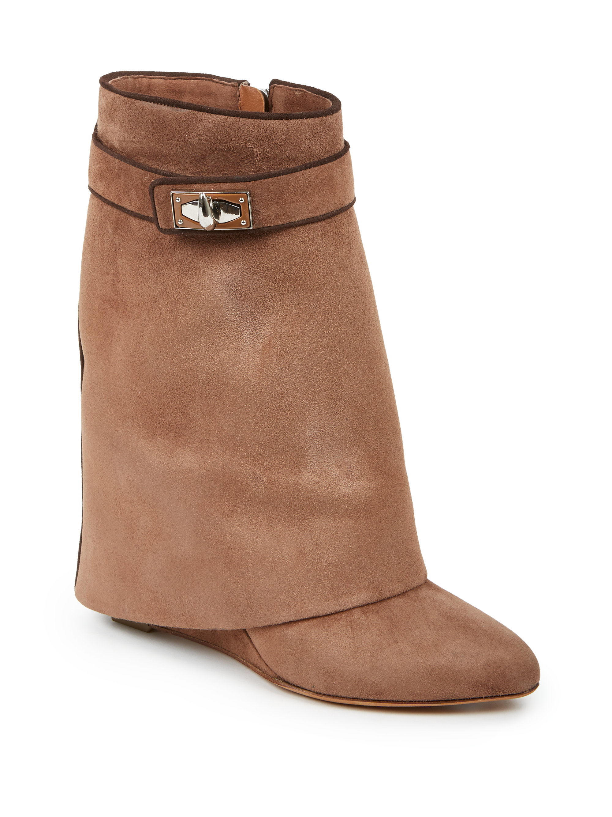 b526303561c Givenchy Brown Shark Lock Suede 'pants' Mid-calf Wedge Boots