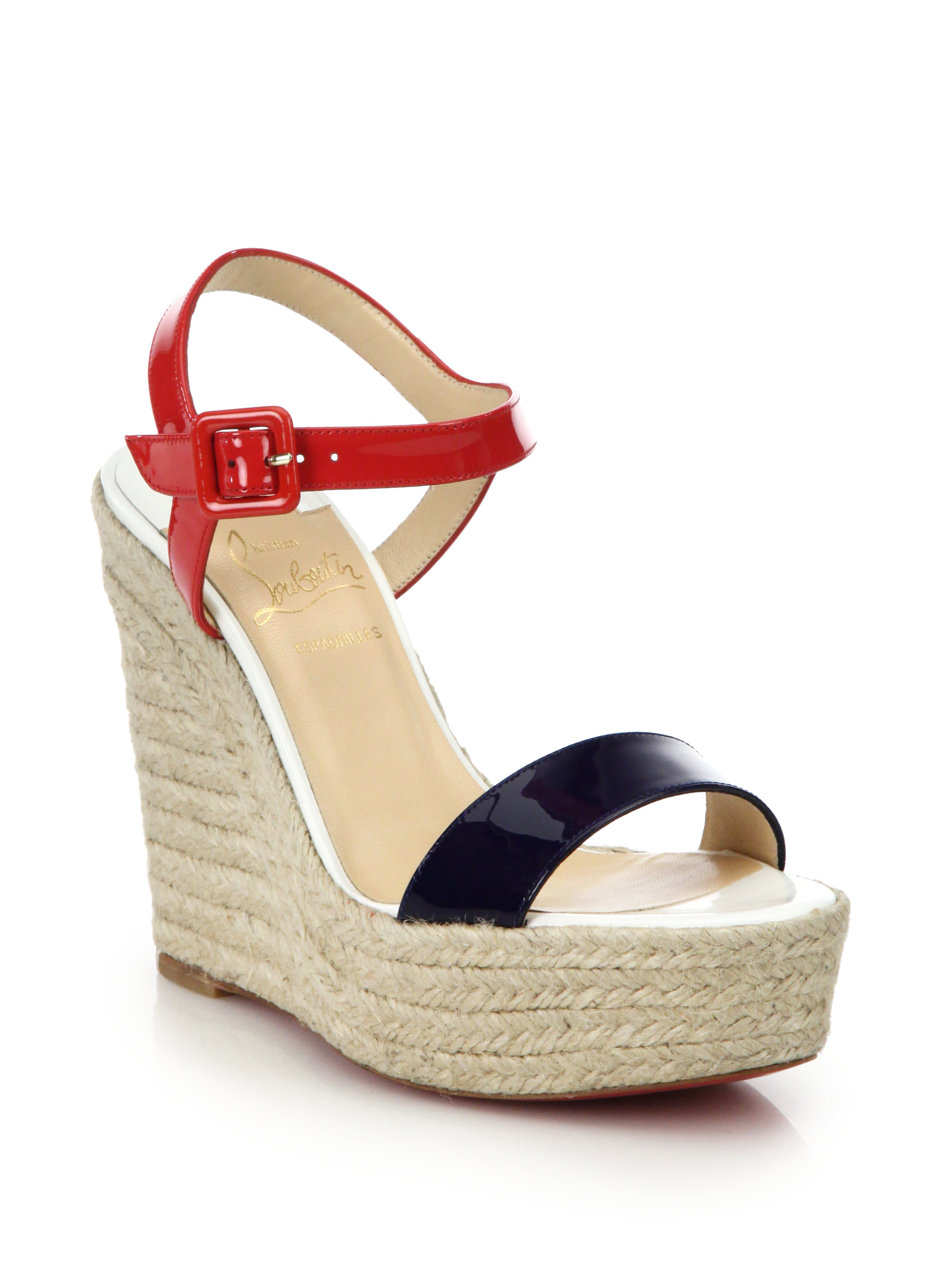 Christian louboutin Spachica Patent Leather Espadrille Wedge ...