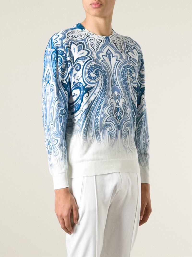 Etro Paisley Sweater in White (Blue) for Men