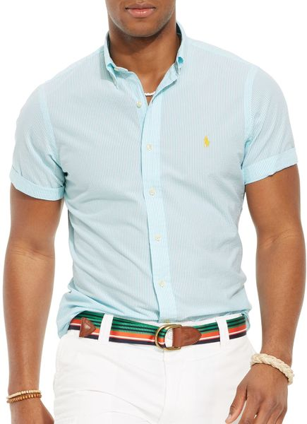 ralph lauren polo short sleeved striped seersucker button