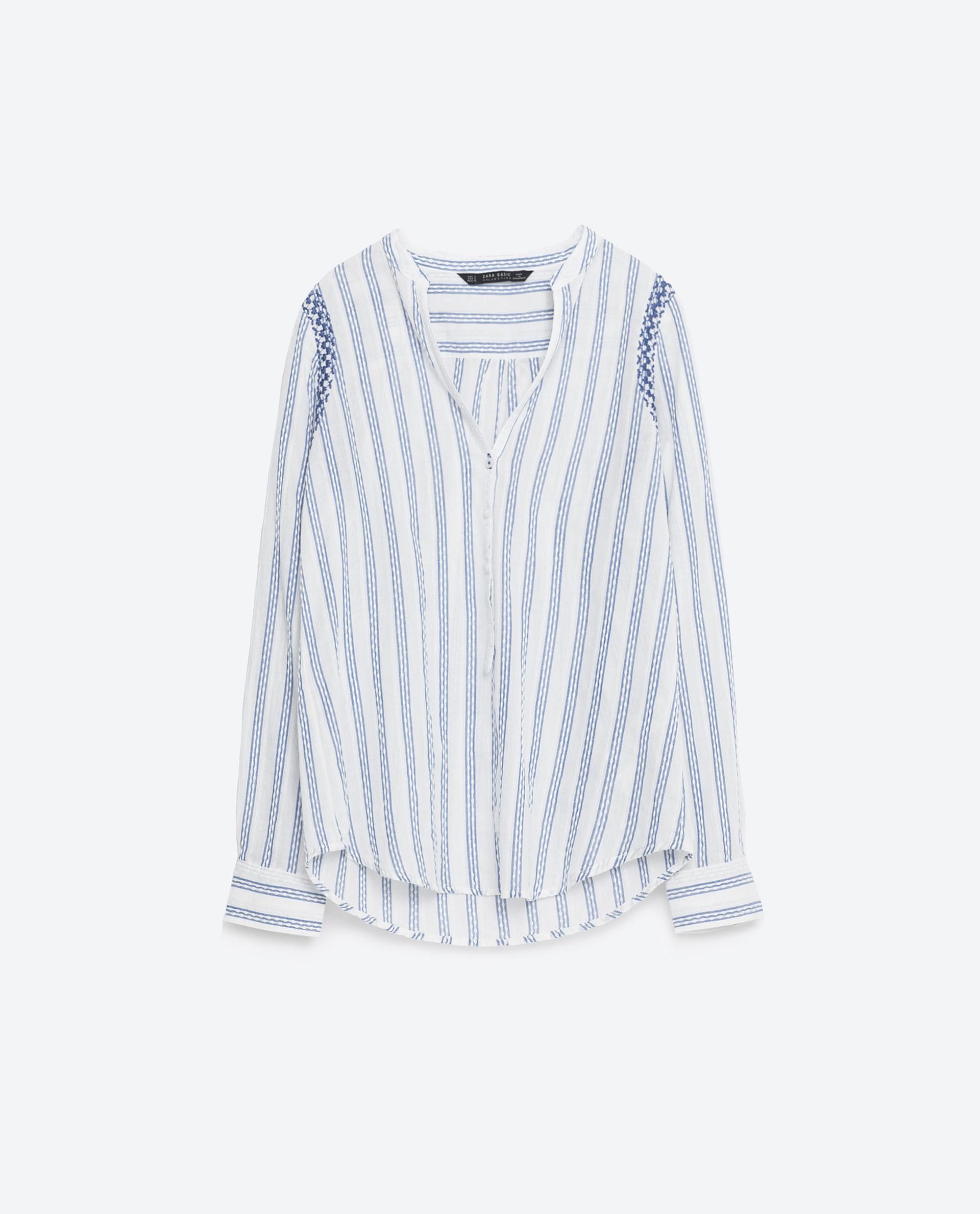 Zara embroidered striped cotton shirt in white lyst