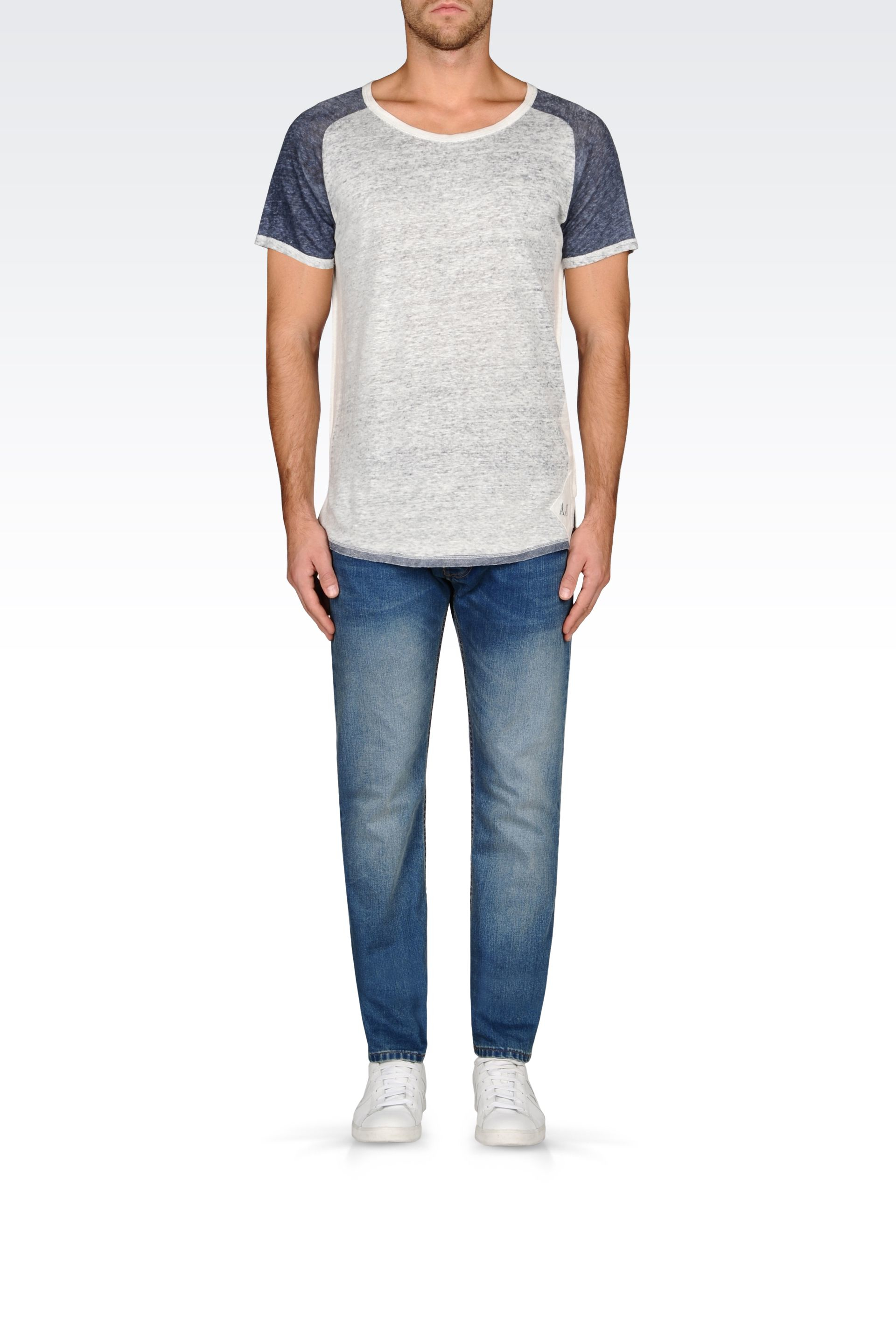 Armani Jeans Jersey T Shirt In Blue For Men White Lyst