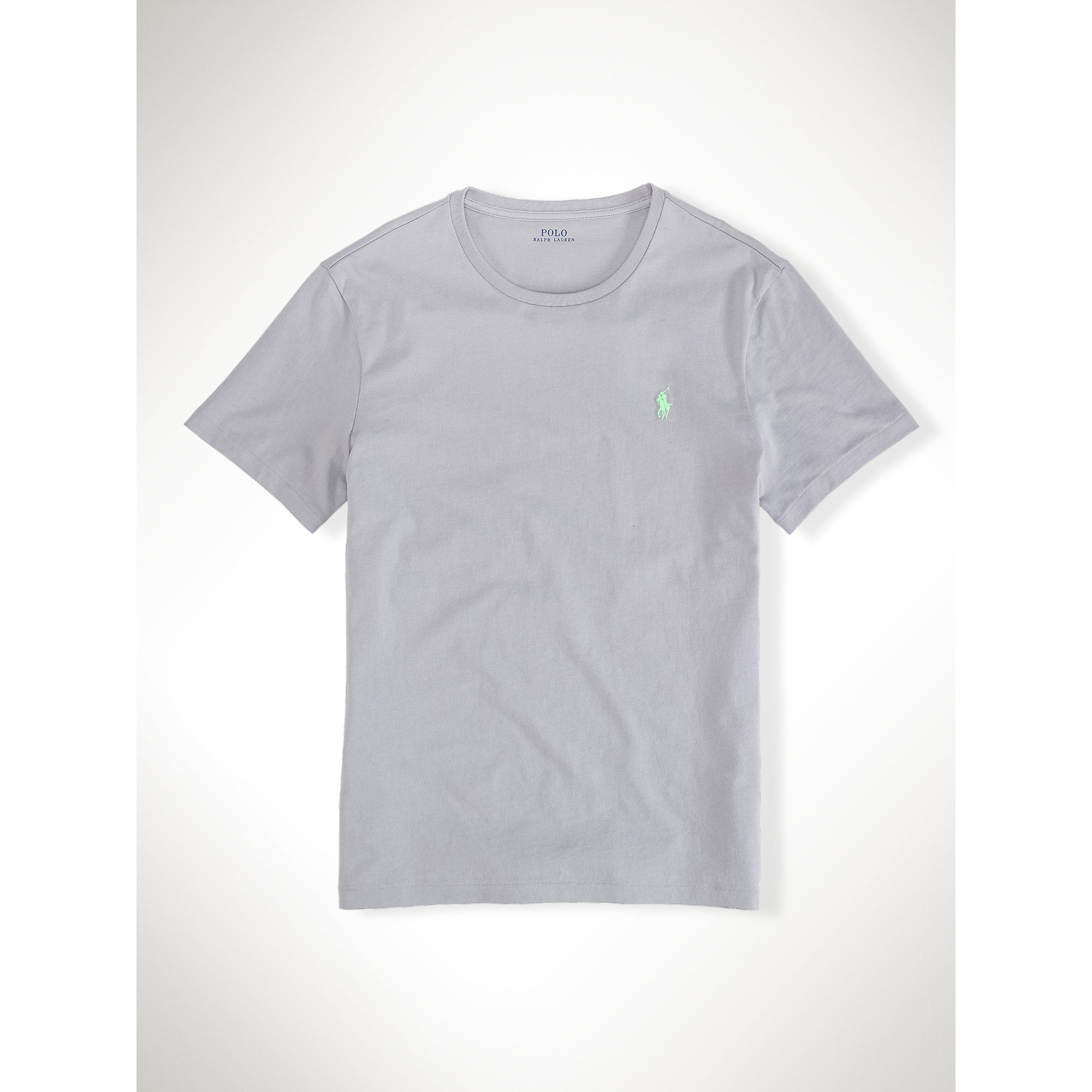 Polo ralph lauren custom fit jersey t shirt in gray for for Polo custom fit t shirts