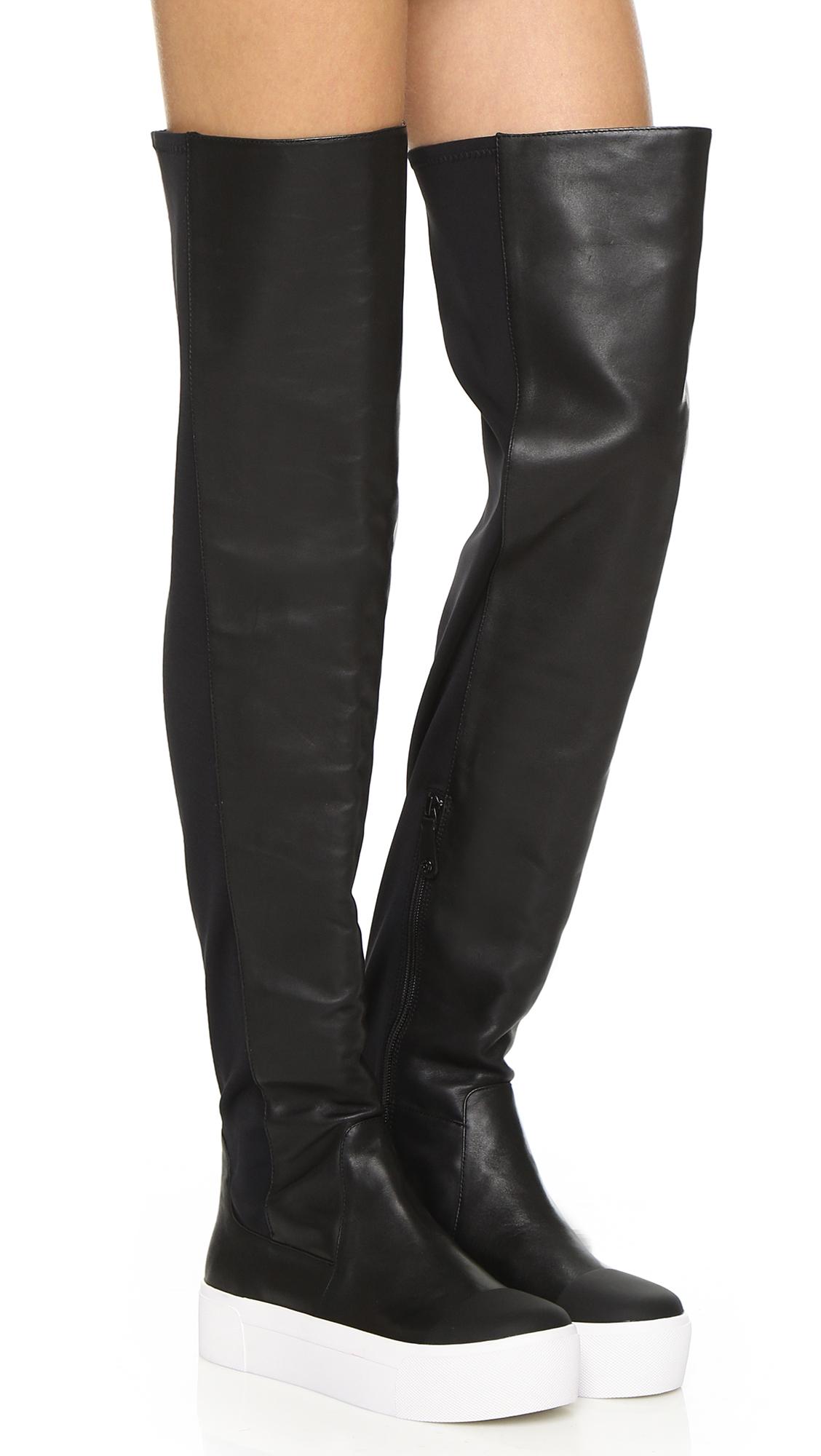 c020bdc6b35 DKNY Brenda Over The Knee Sneaker Boots - Black in Black - Lyst