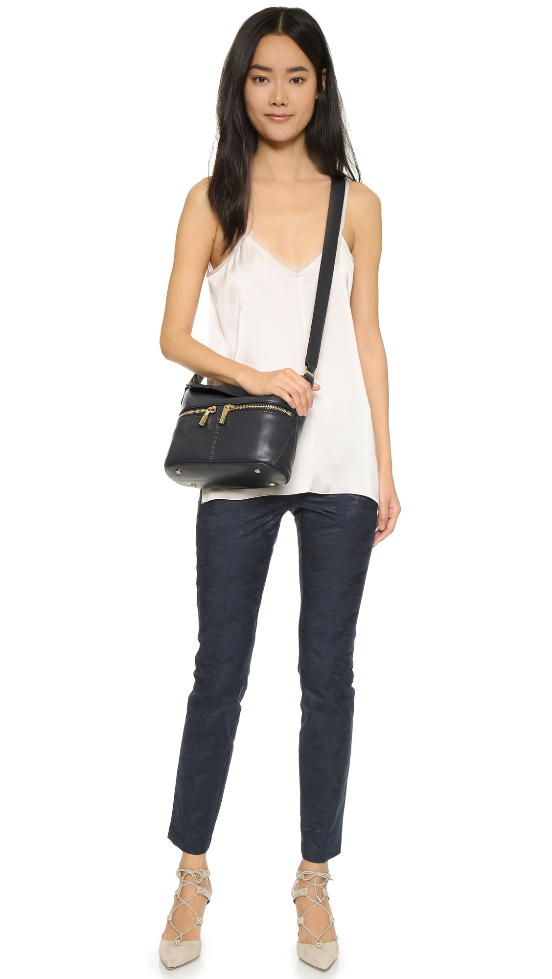 Elizabeth and James Leather James Small Cross Body Bag - Anthracite in Grey