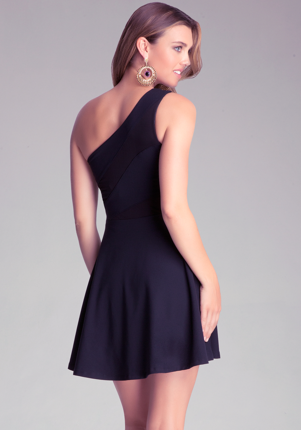 Bebe One Shoulder Fit Flare Dress In Black Lyst