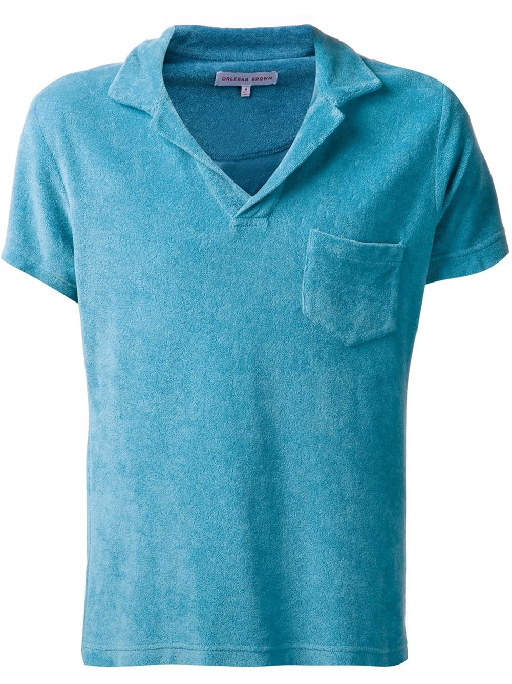 Orlebar brown terry towelling polo shirt in blue for men for Mens terry cloth polo shirt