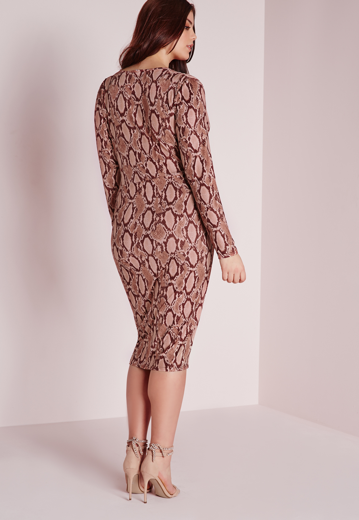 Lyst - Missguided Plus Size Snake Print Plunge Dress Pink in Pink