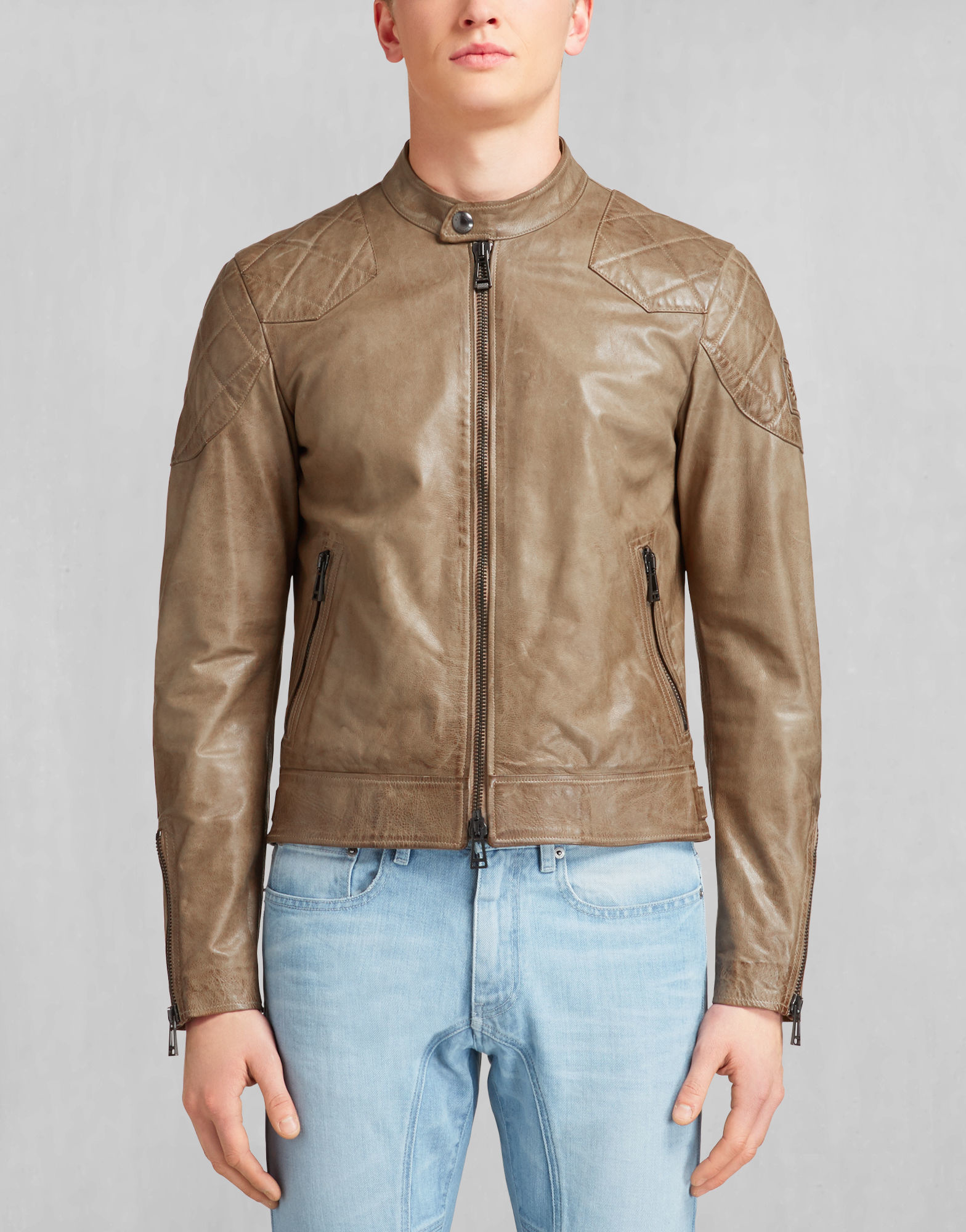 10e4dde66 Belstaff Natural The Outlaw Jacket In Sisal Lightweight Hand Waxed Leather  for men