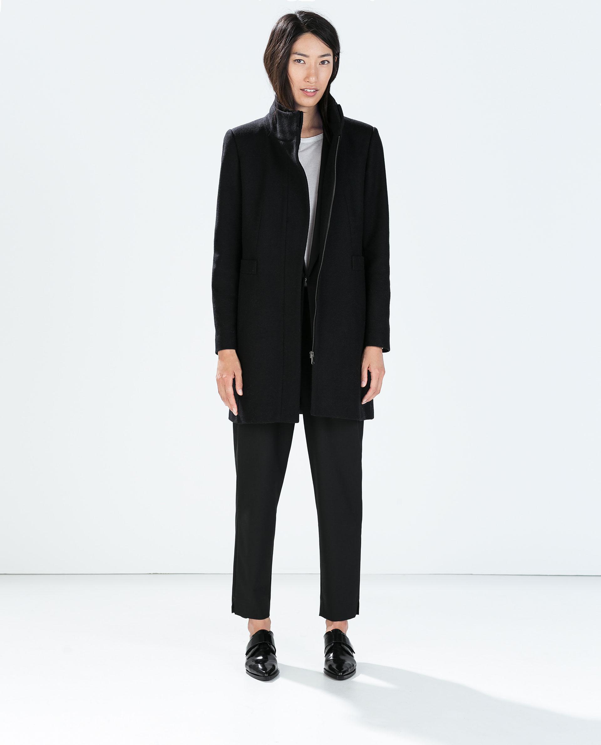 Zara Wool Coat in Black | Lyst
