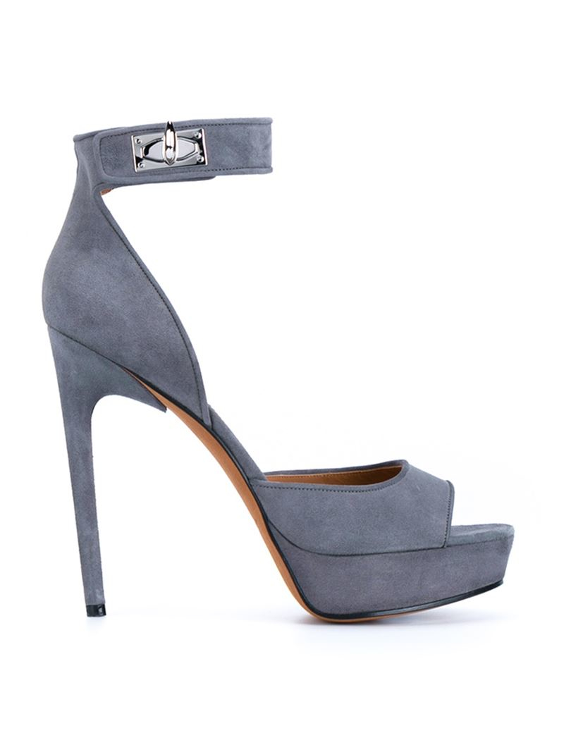86a0aab766ae Lyst - Givenchy Shark Lock Platform Sandals in Gray