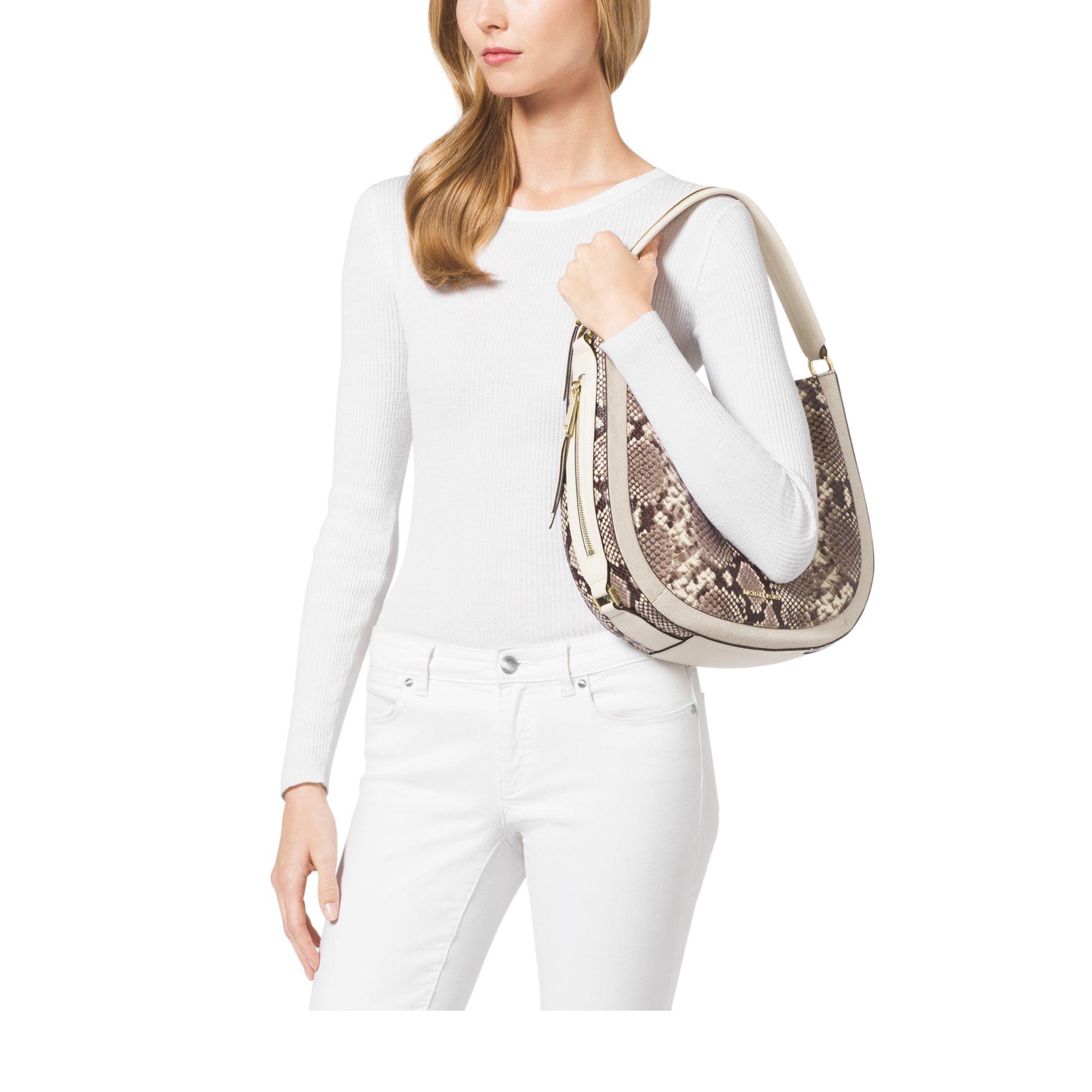 602958d4fe15e1 Michael Kors Julia Medium Embossed-leather Shoulder Bag - Lyst