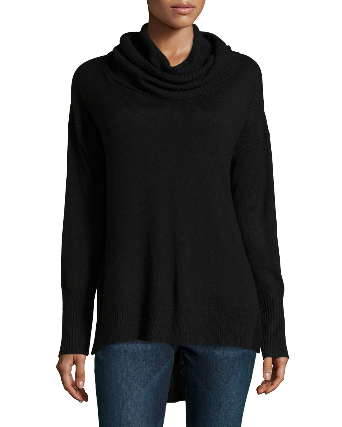 Neiman marcus Oversized Cowl-neck High-low Sweater in Black | Lyst