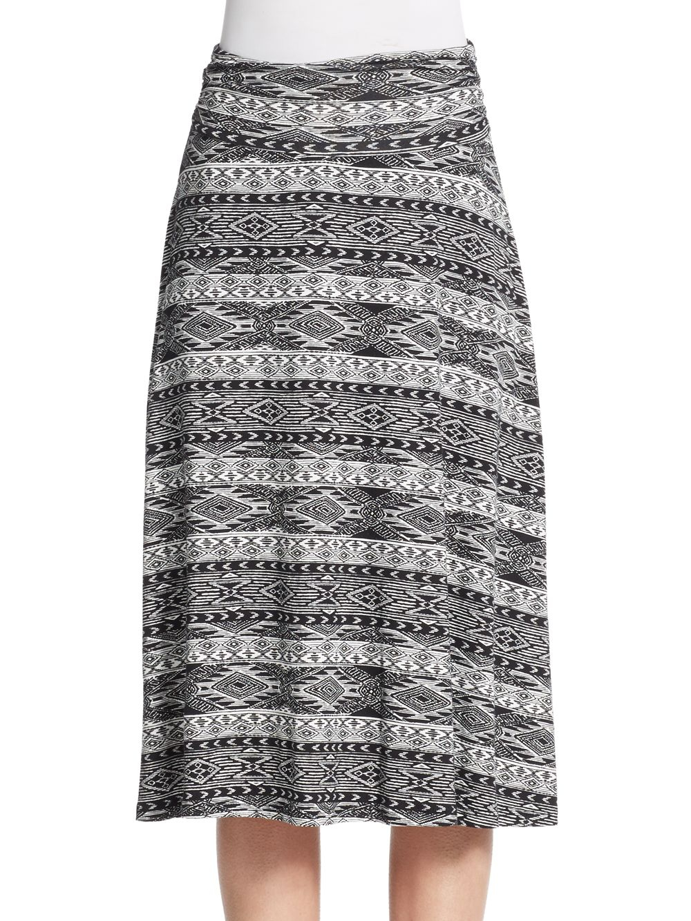 Bobeau Geo-print A-line Jersey Skirt in Black | Lyst