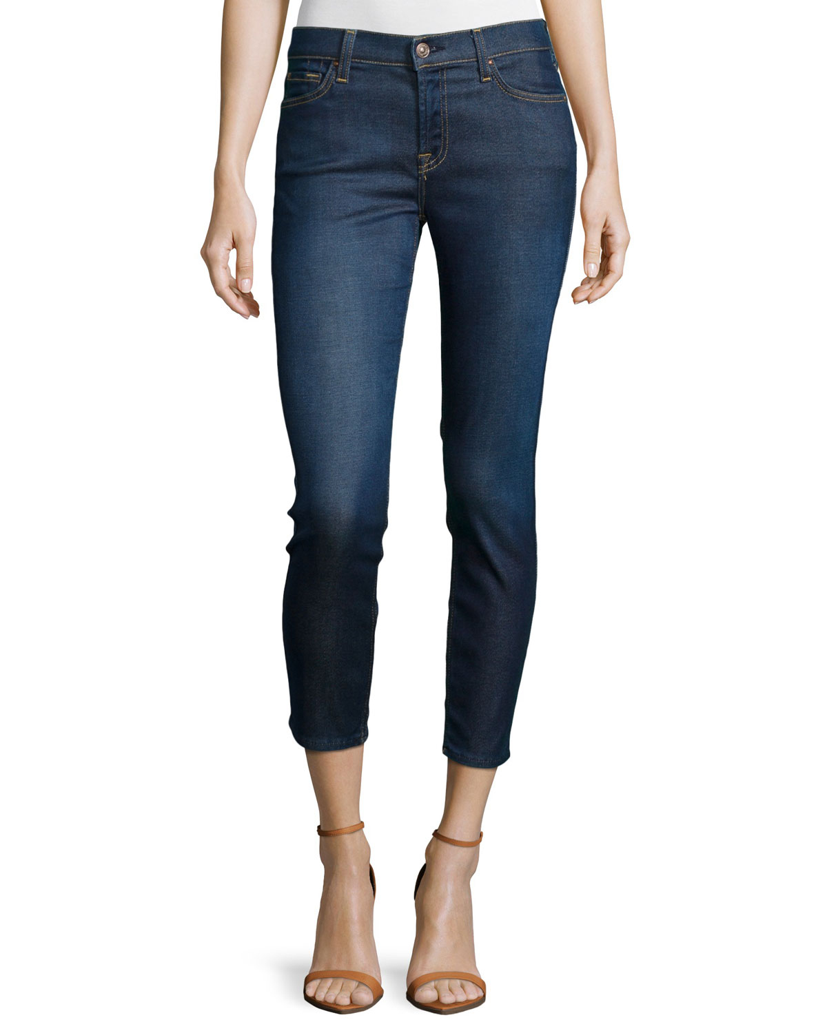 7 for all mankind roxanne cropped skinny jeans in blue lyst. Black Bedroom Furniture Sets. Home Design Ideas