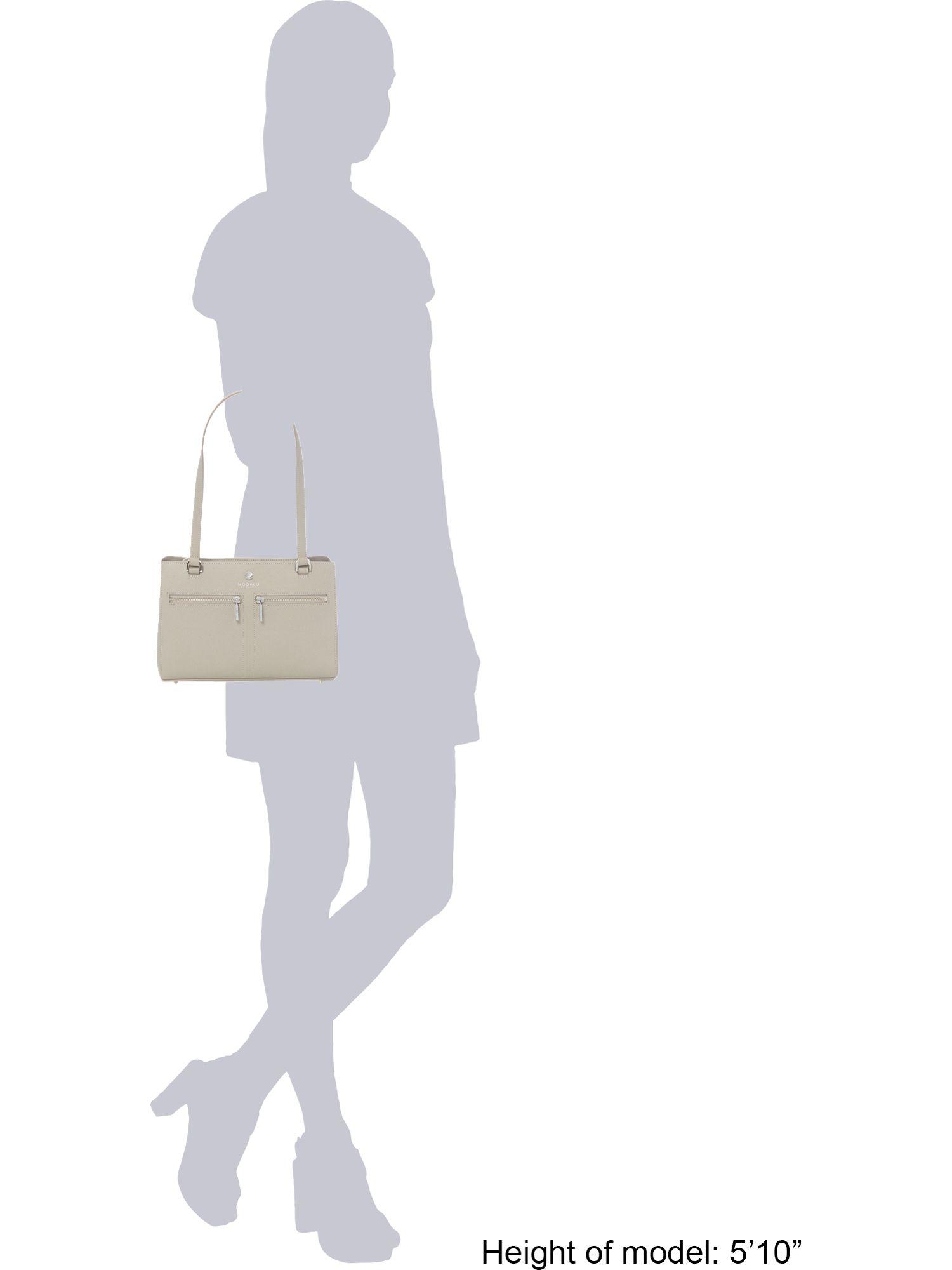 Modalu Pippa Grey Medium Tote Shoulder Bag in Grey