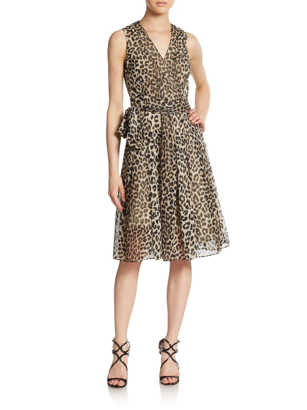 Lyst Anne Klein Leopard Print Chiffon Fit And Flare Dress