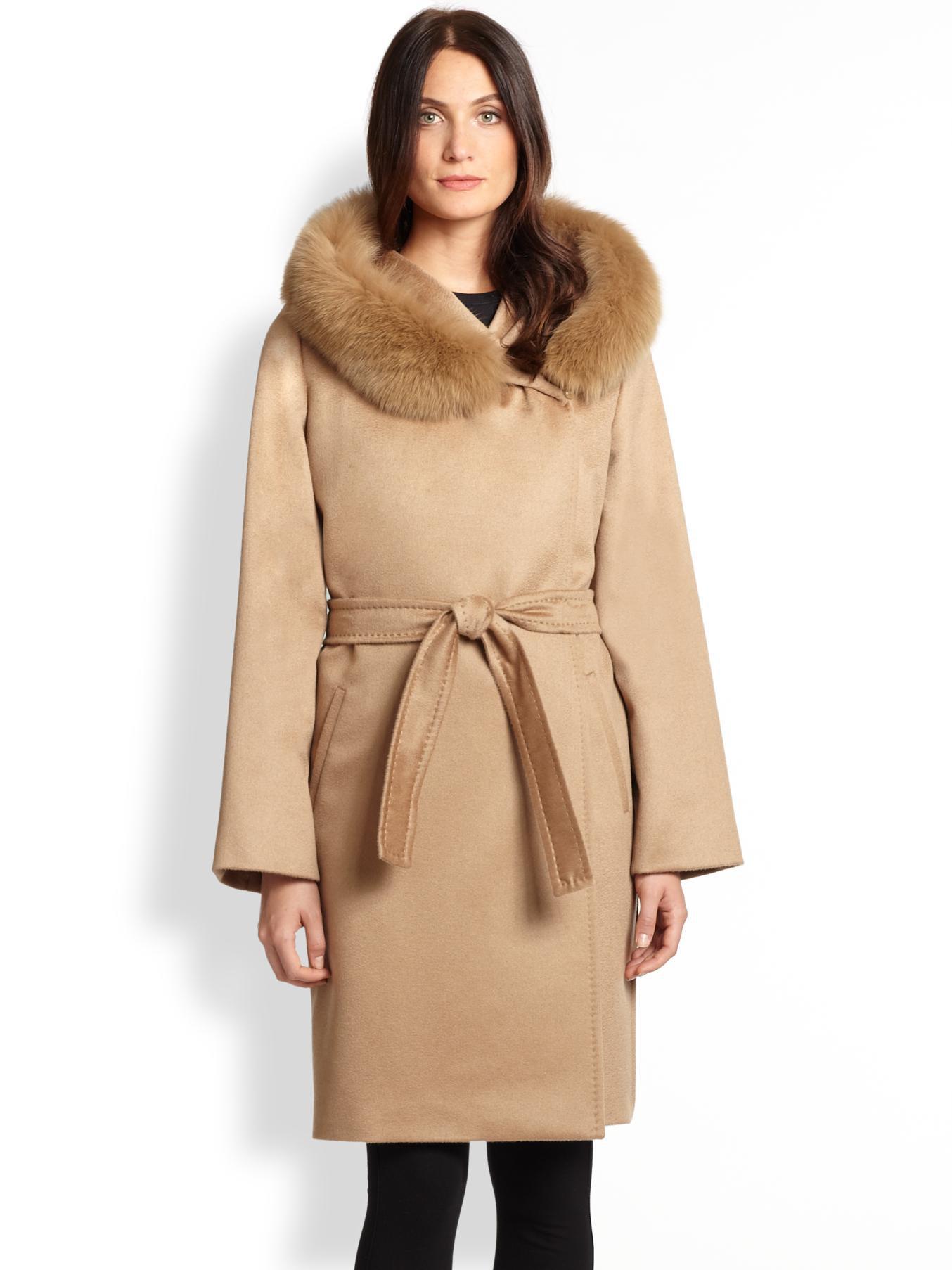 Lyst Max Mara Studio Fur Trim Cashmere Wrap Coat In Brown