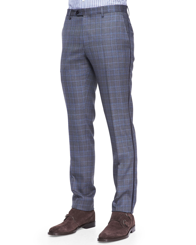 Etro Grosgrain-trim Check Pants for Men