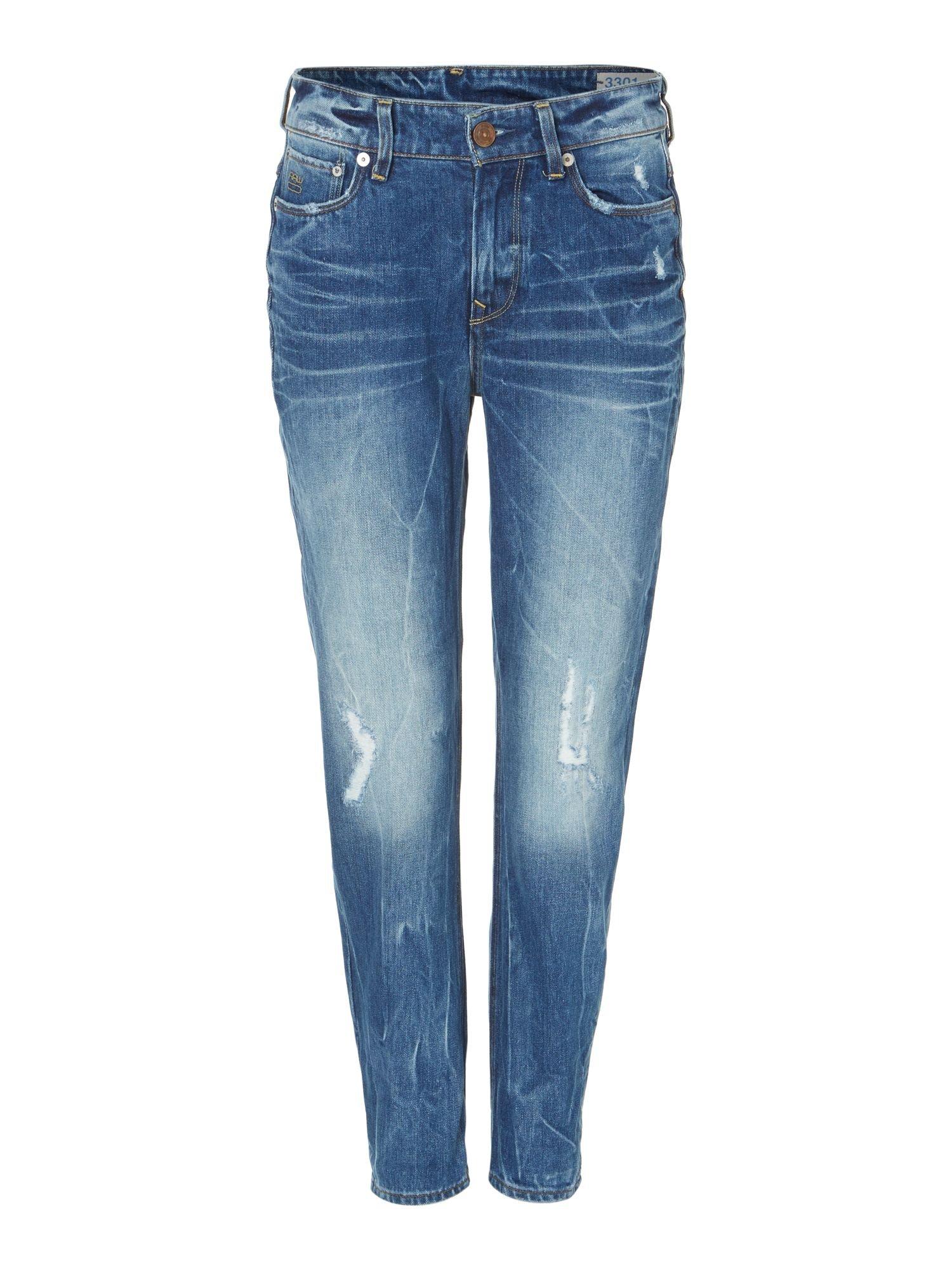 g star raw g star 3301 boyfriend jeans in blue lyst. Black Bedroom Furniture Sets. Home Design Ideas